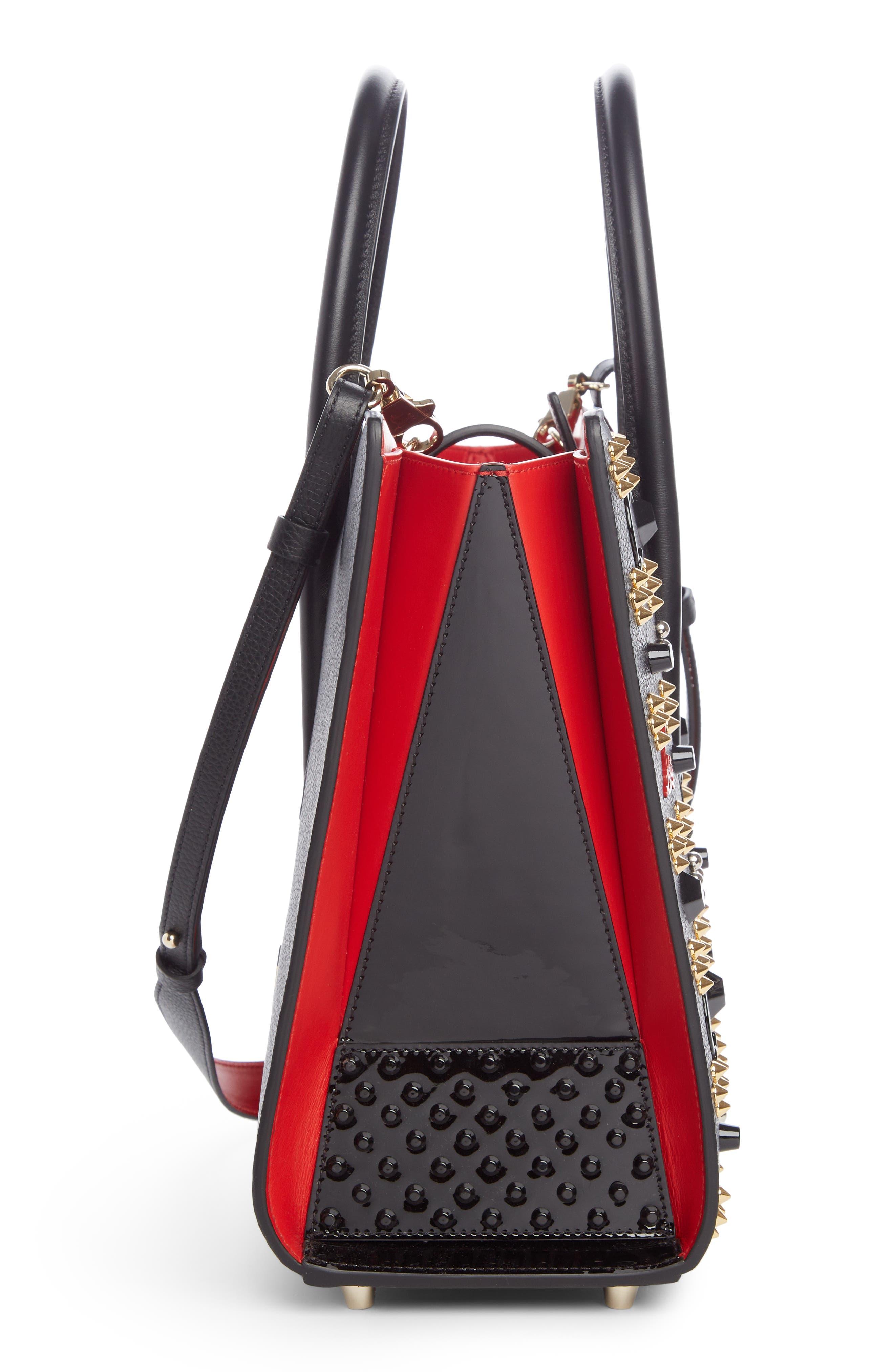 Medium Paloma Leather Tote,                             Alternate thumbnail 4, color,                             Black/ Red-Gold