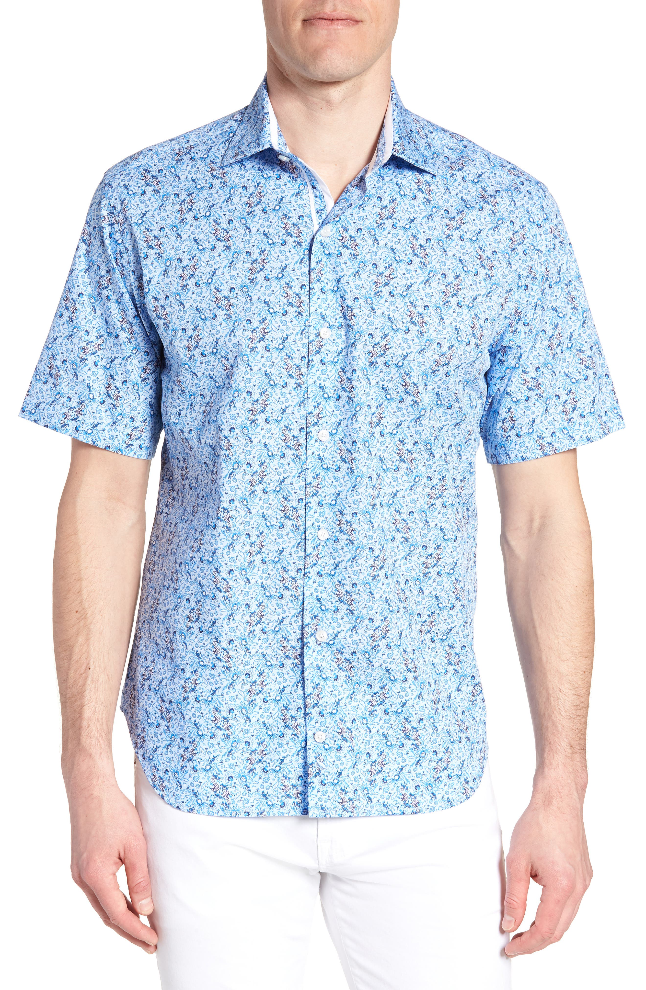 Baer Regular Fit Print Sport Shirt,                         Main,                         color, Blue