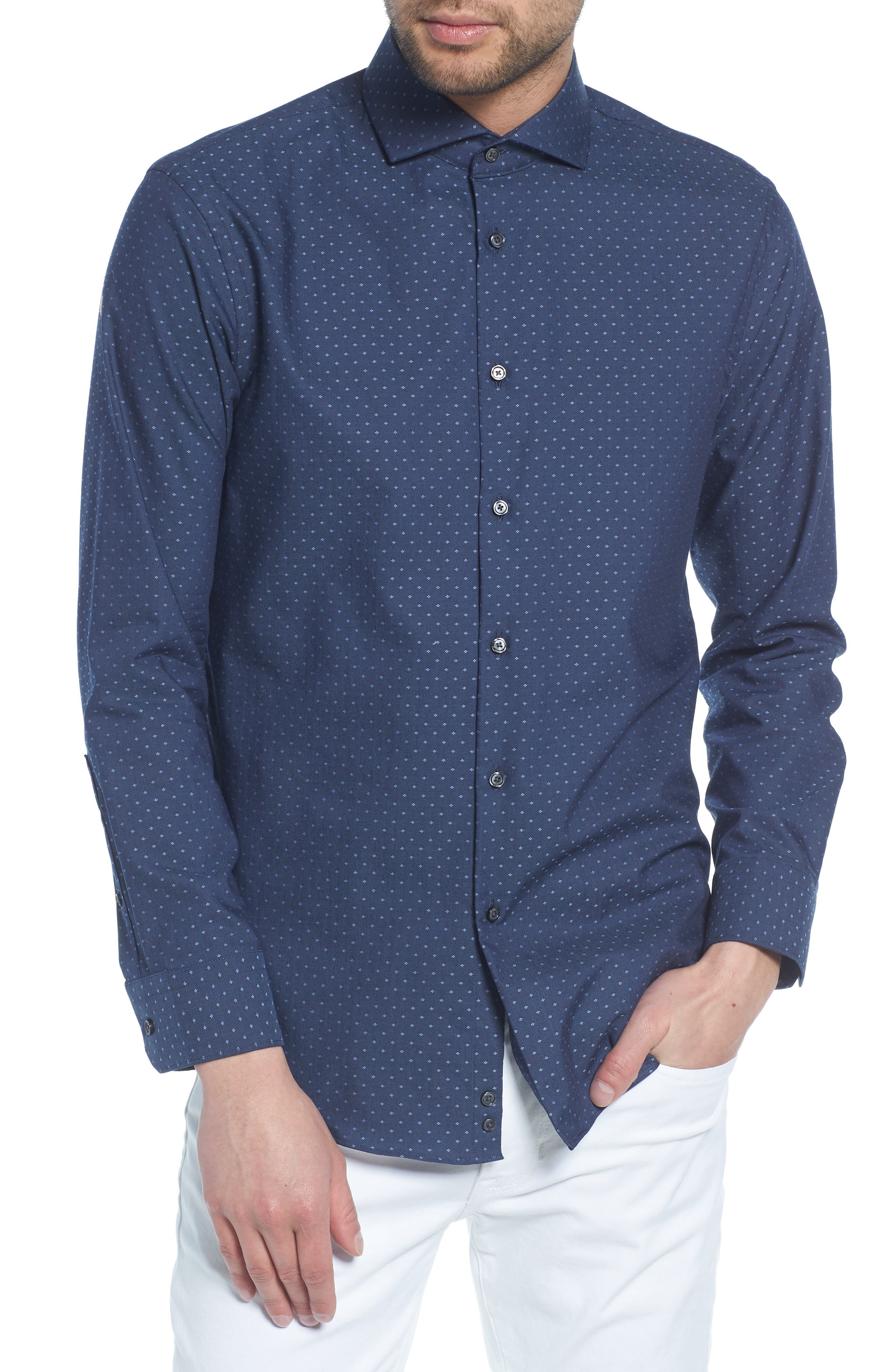 Extra Trim Fit Dot Dress Shirt,                         Main,                         color, Navy Medieval