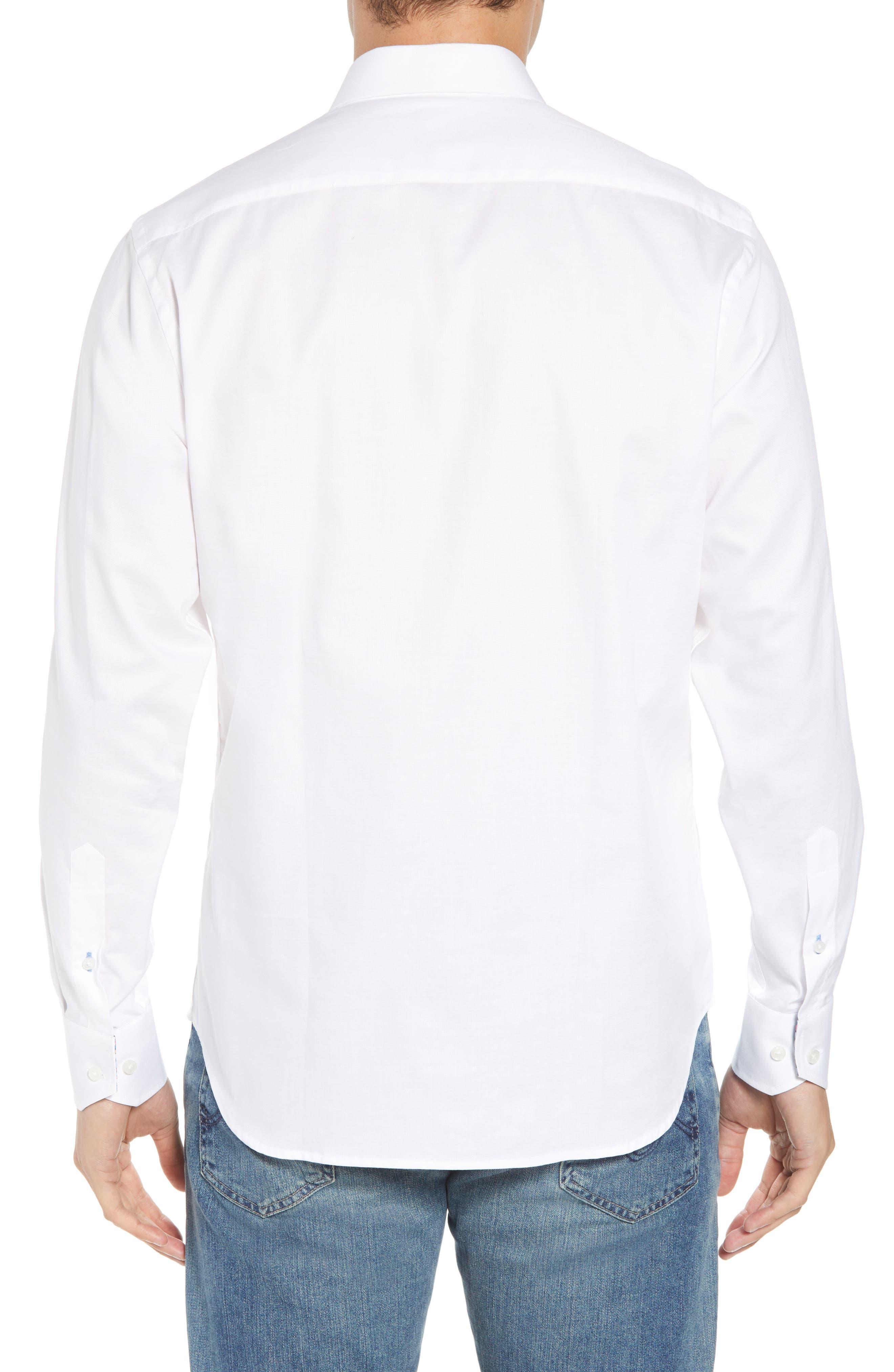 Baxley Regular Fit Sport Shirt,                             Alternate thumbnail 3, color,                             White