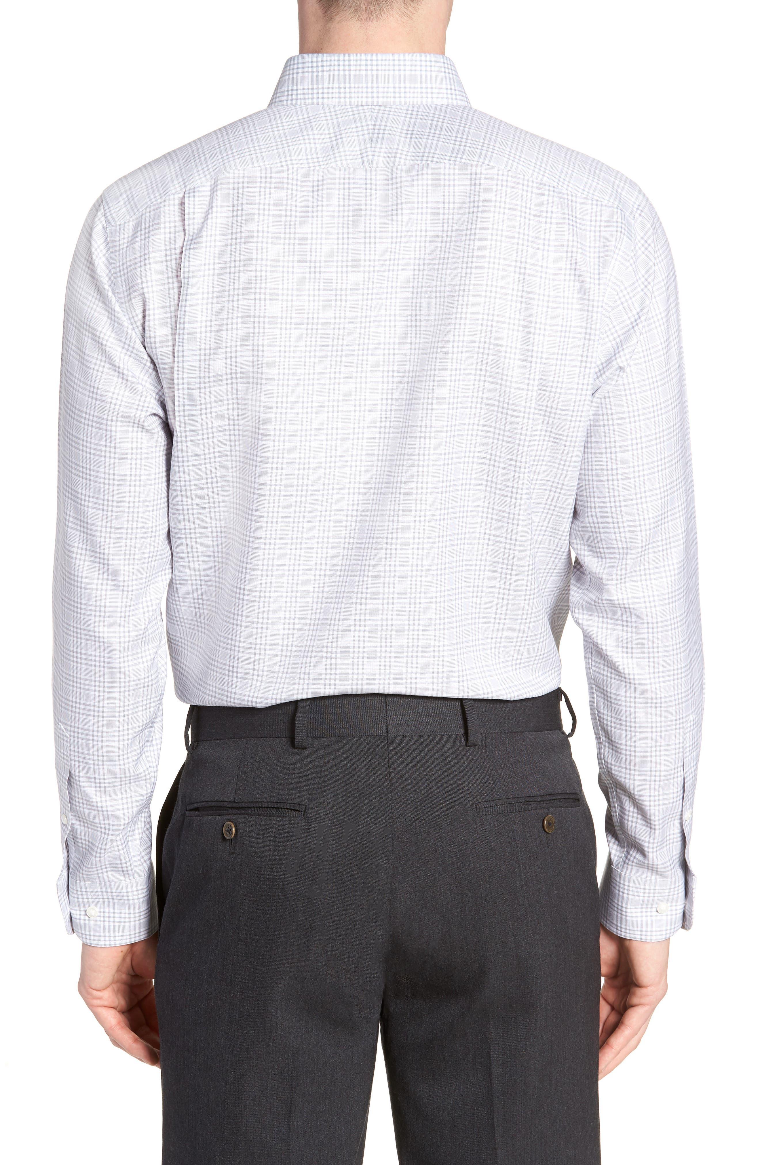 Smartcare<sup>™</sup> Traditional Fit Plaid Dress Shirt,                             Alternate thumbnail 3, color,                             Grey Sleet
