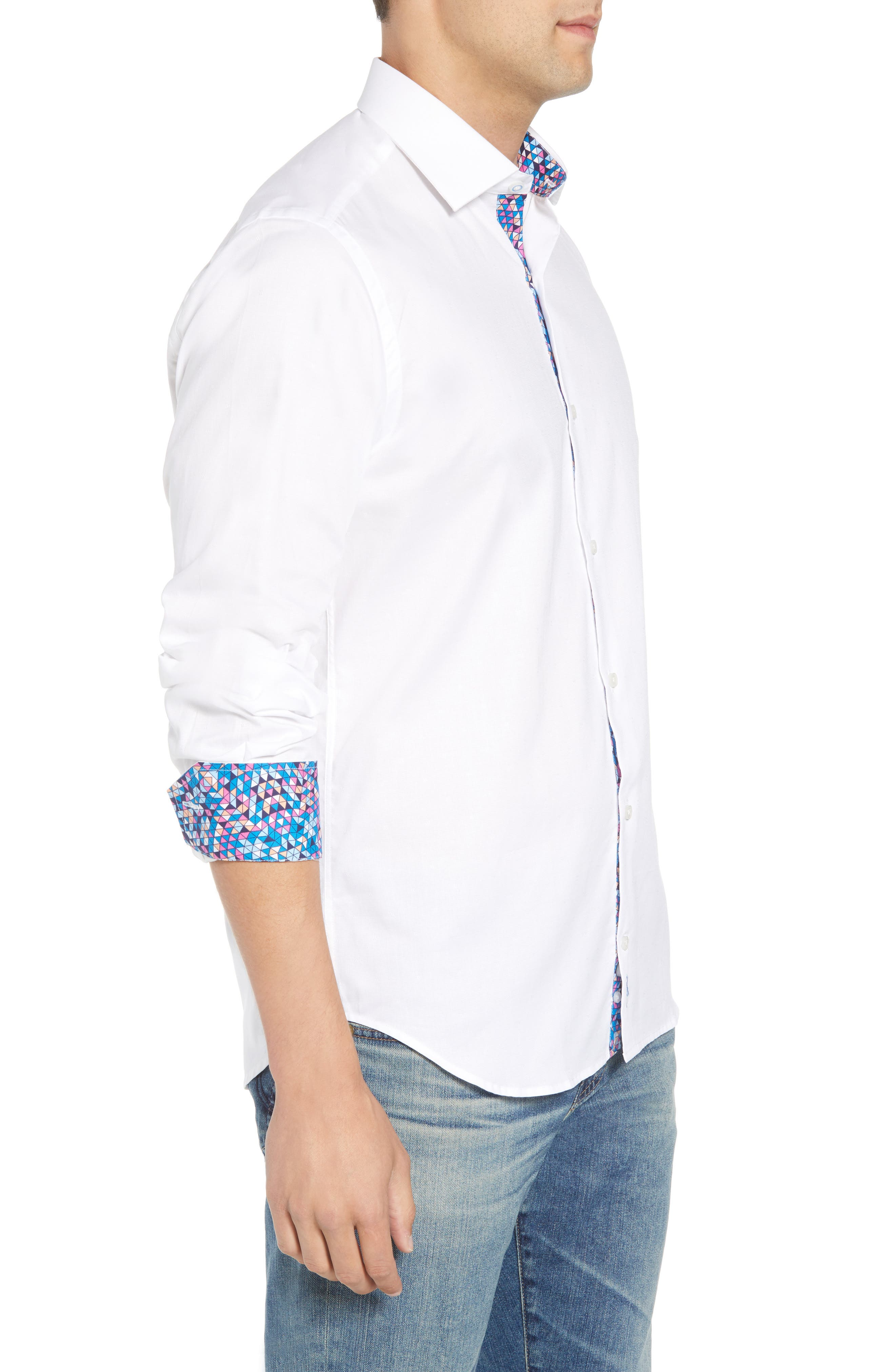 Baxley Regular Fit Sport Shirt,                             Alternate thumbnail 4, color,                             White