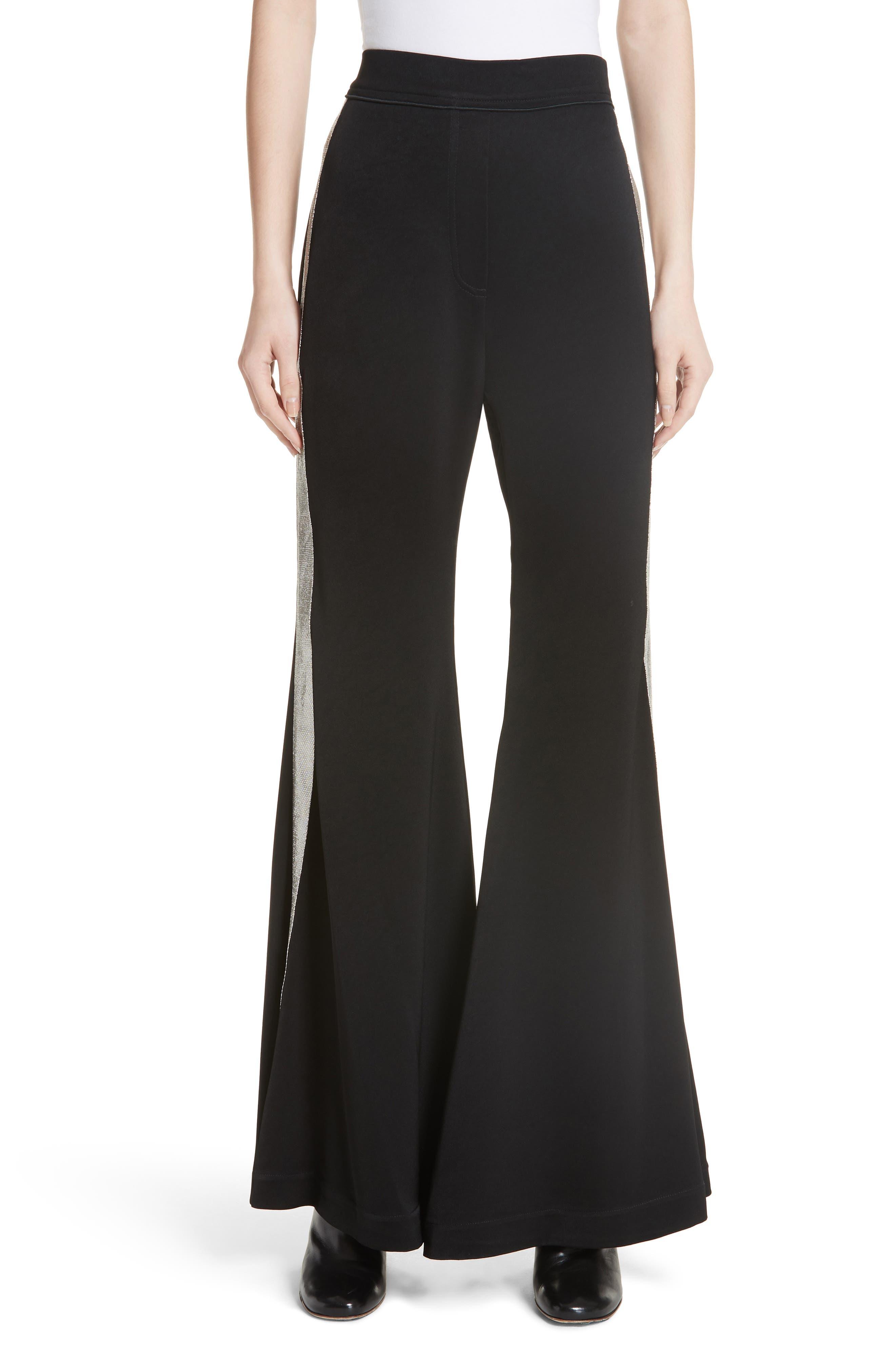 Lovedolls Wide Leg Flare Pants,                         Main,                         color, Black W Silver