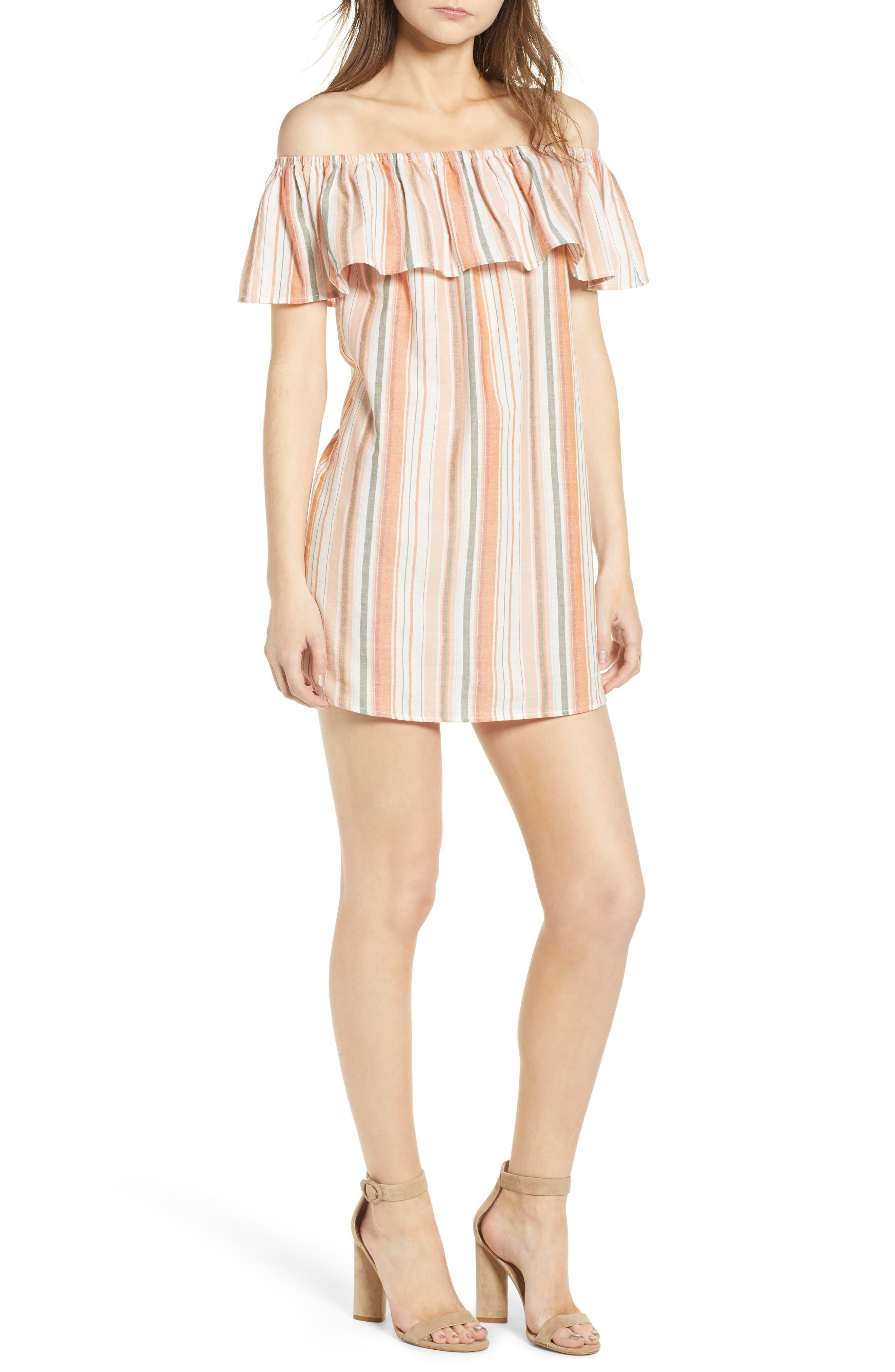 Bishop + Young Sunset Stripe Off the Shoulder Dress,                             Main thumbnail 1, color,                             Orange White Stripe