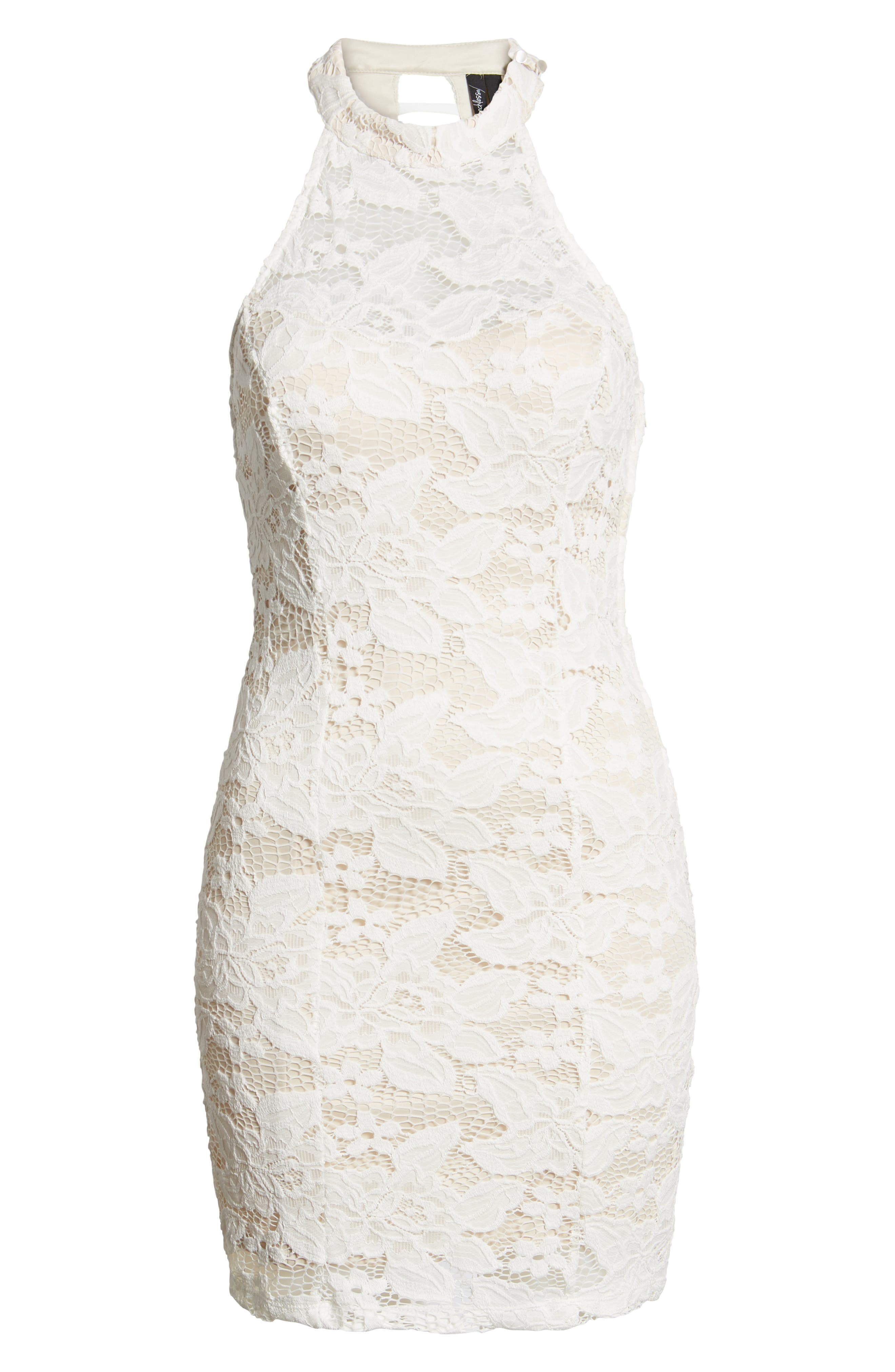 Lace Body-Con Minidress,                             Alternate thumbnail 7, color,                             Ivory/ Nude
