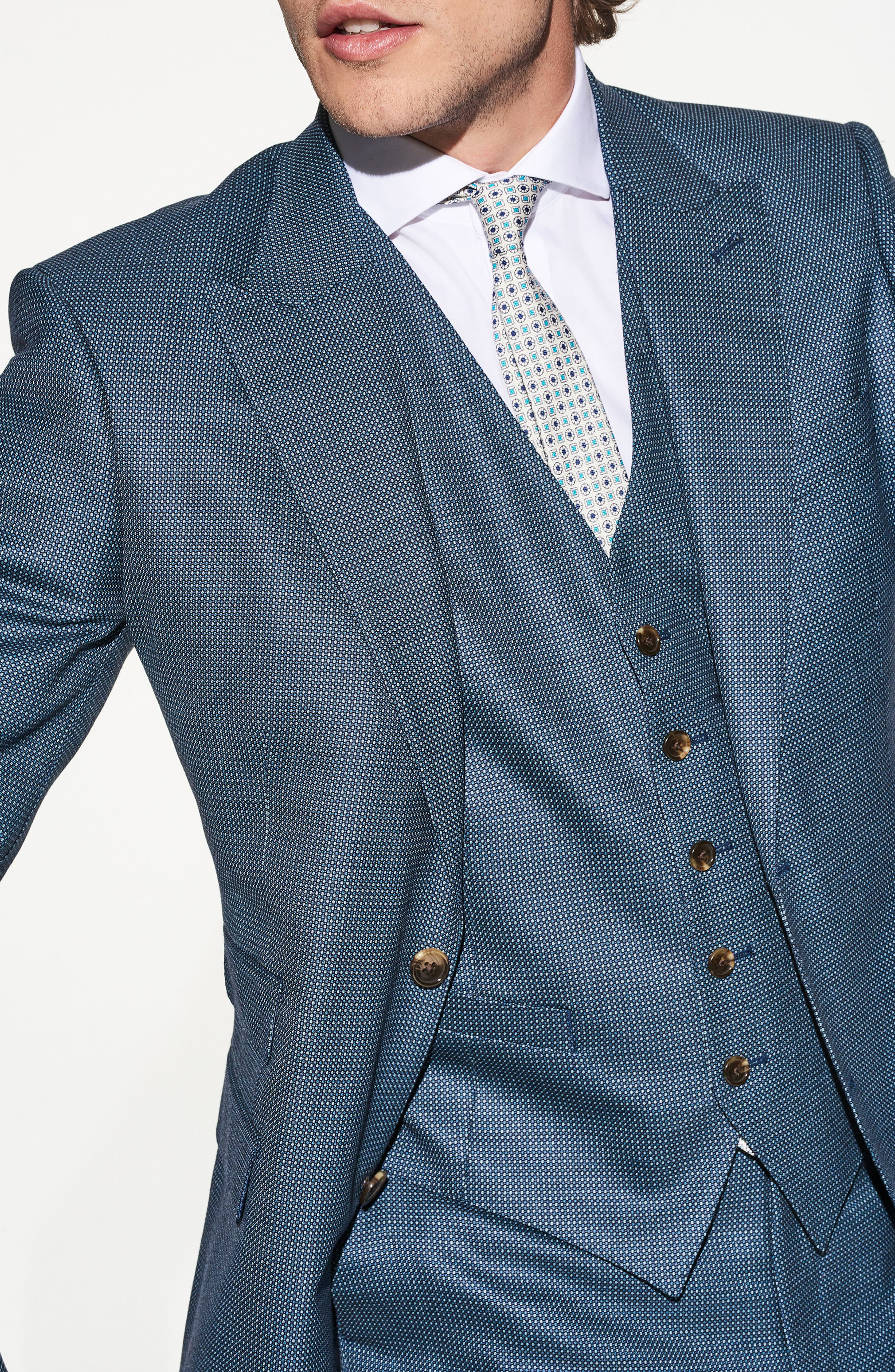 by Ilaria Urbinati Finch Trim Fit Three-Piece Solid Wool Suit,                             Alternate thumbnail 7, color,                             Pacific Blue Dot