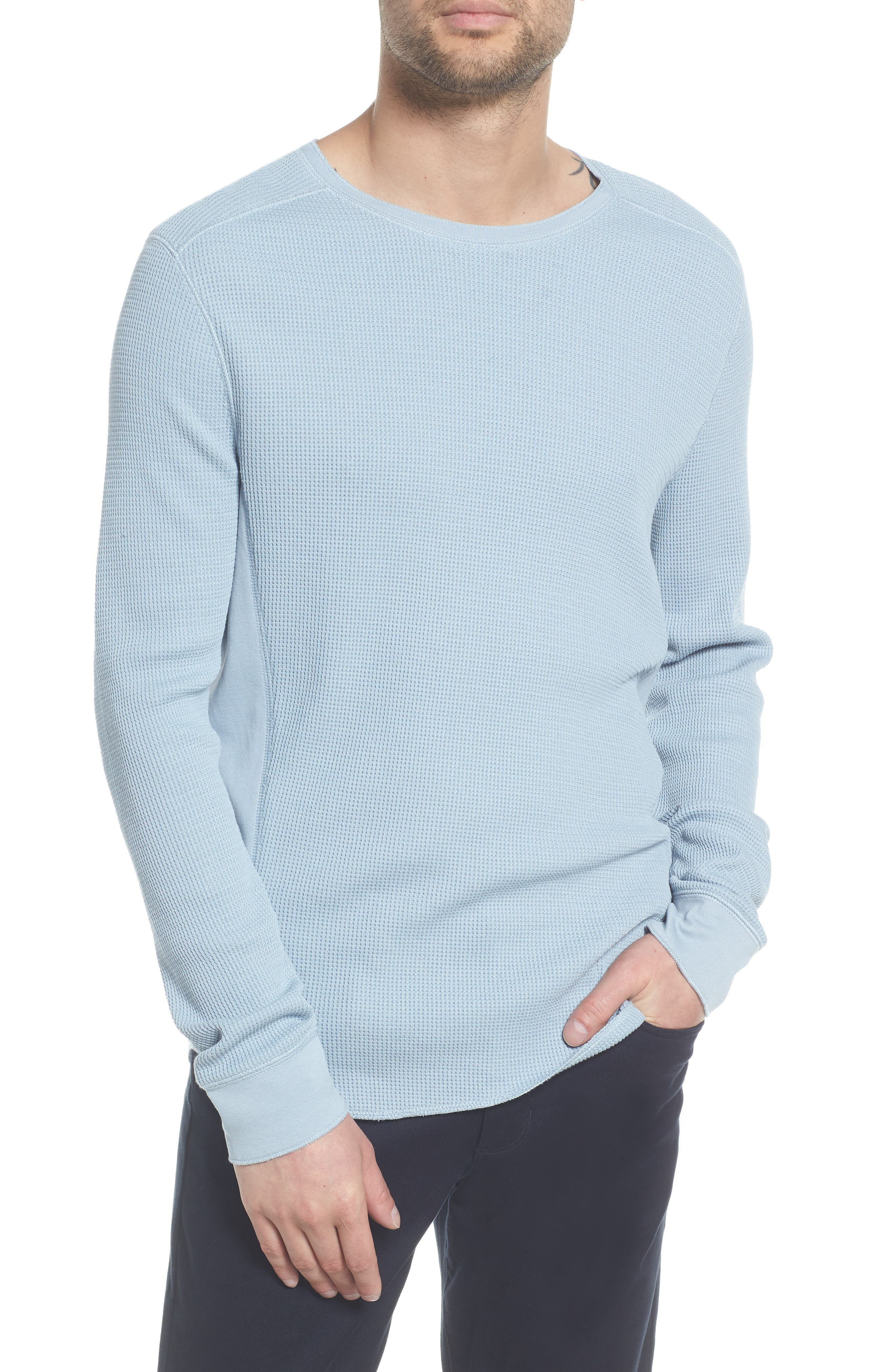 Regular Fit Waffle Knit Cotton Blend Crewneck T-Shirt,                         Main,                         color, Arctic