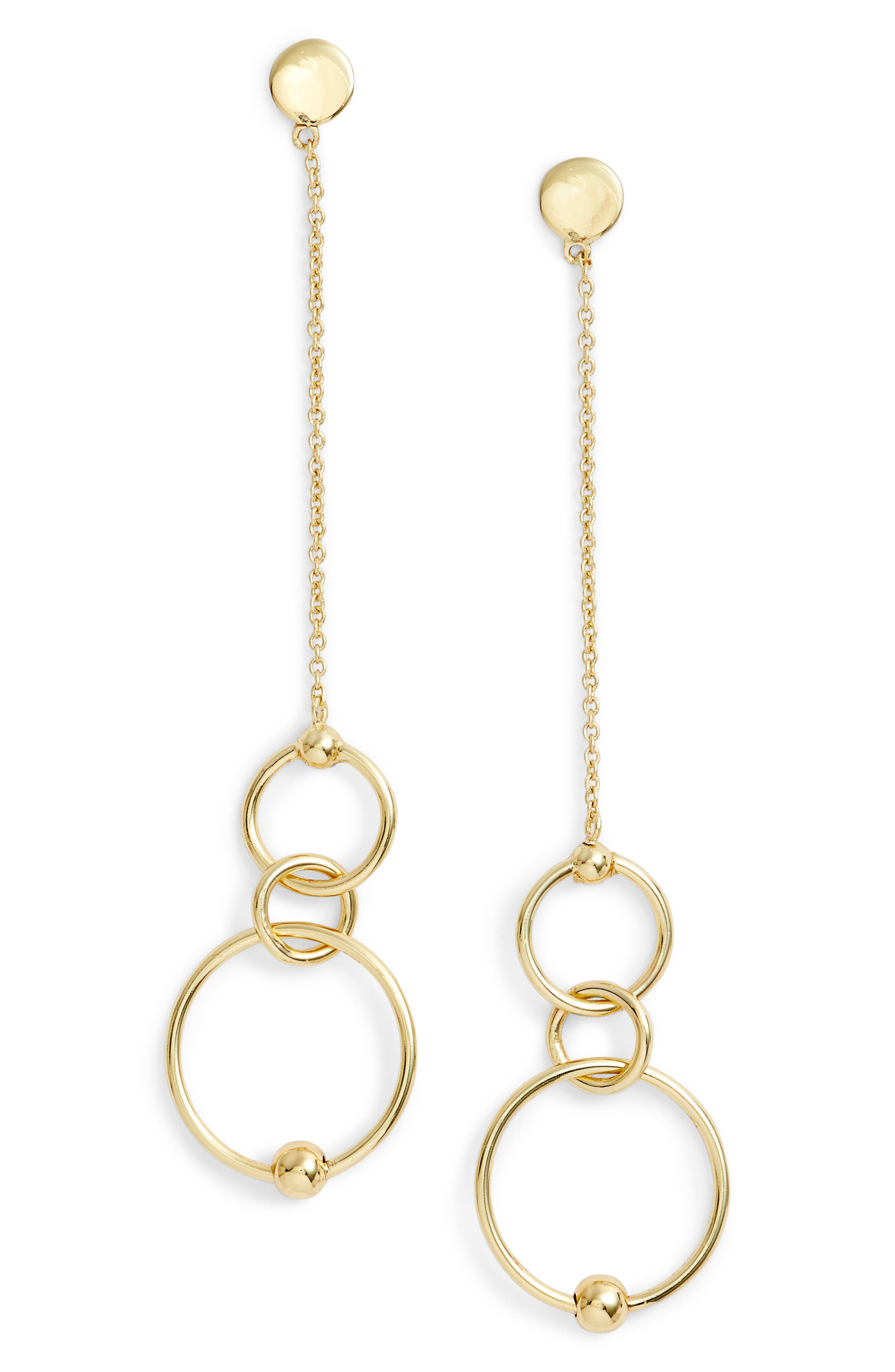 Linear Open Ring Drop Earrings,                             Main thumbnail 1, color,                             Gold