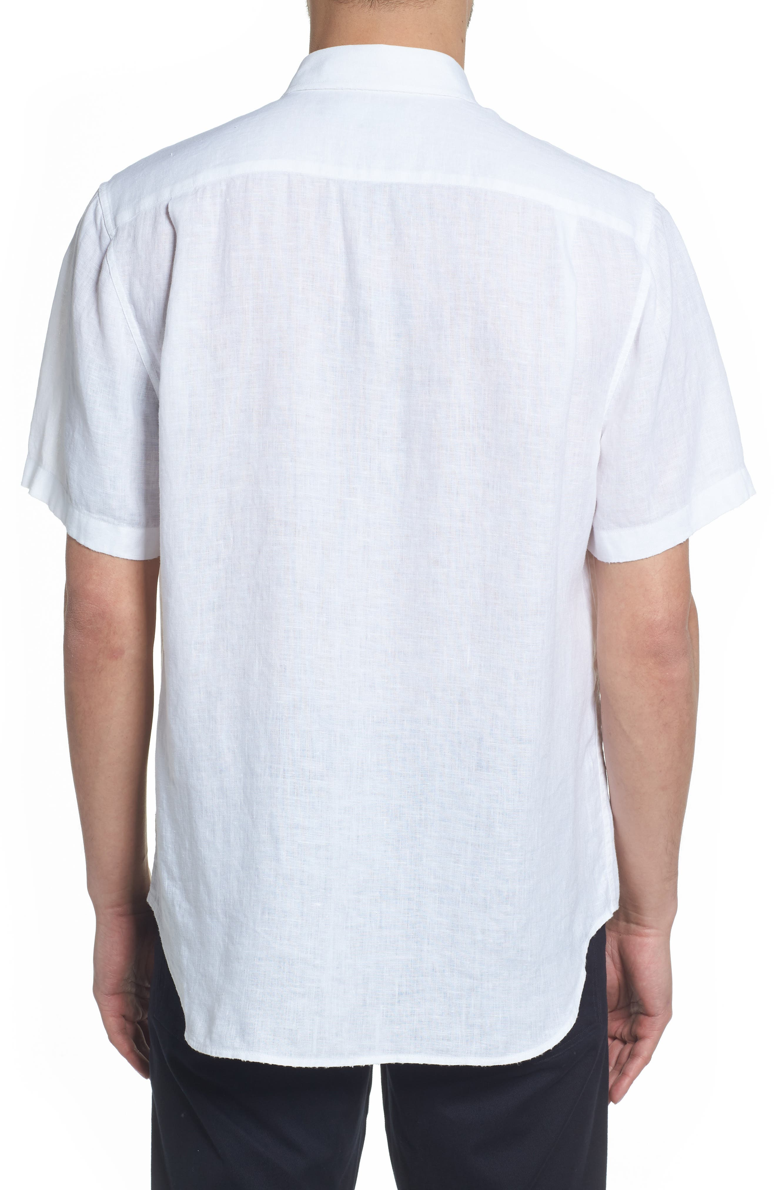 Classic Fit Washed Short Sleeve Sport Shirt,                             Alternate thumbnail 3, color,                             Optic White