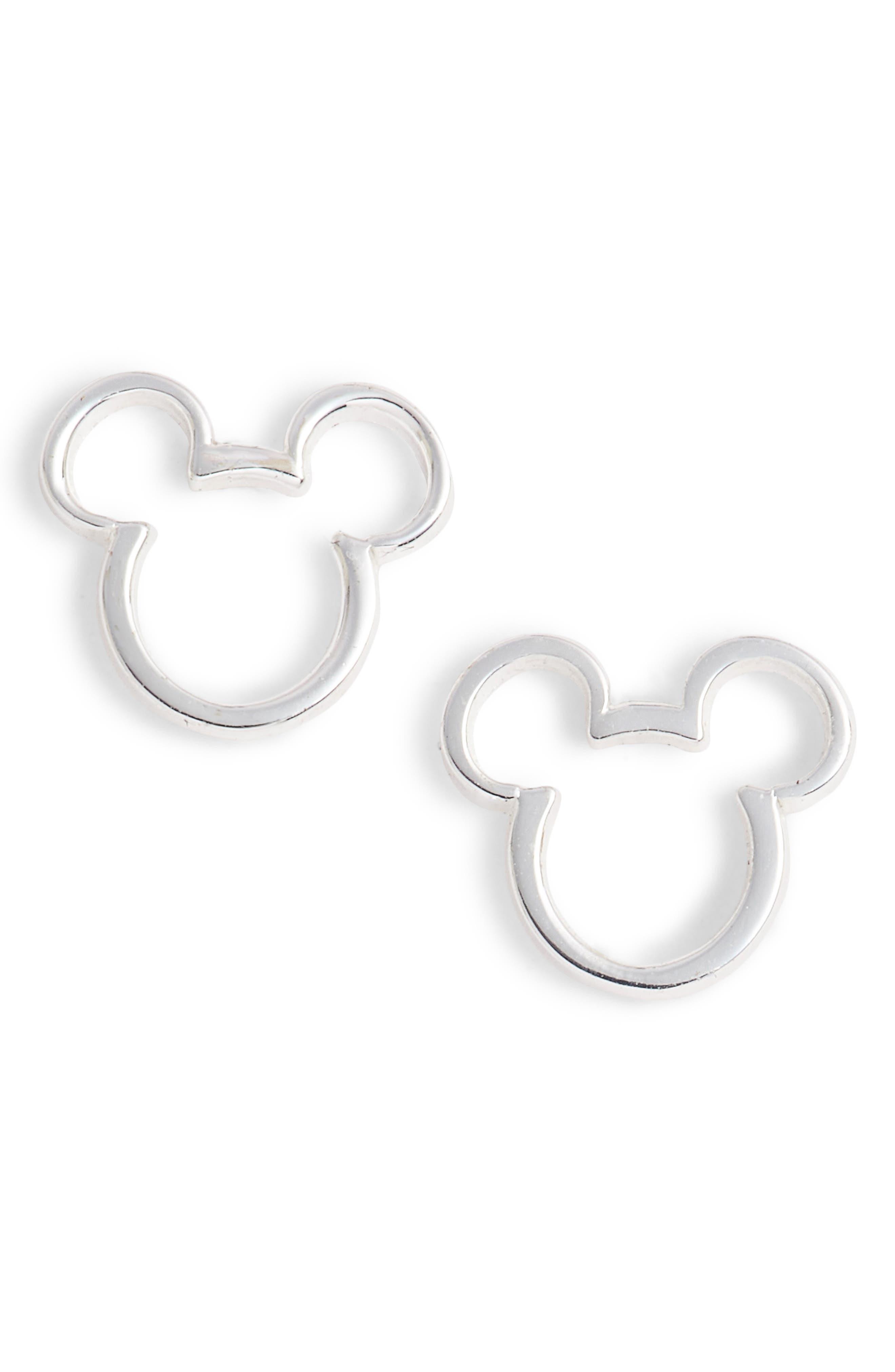 Mickey Mouse Stud Earrings,                             Main thumbnail 1, color,                             Silver