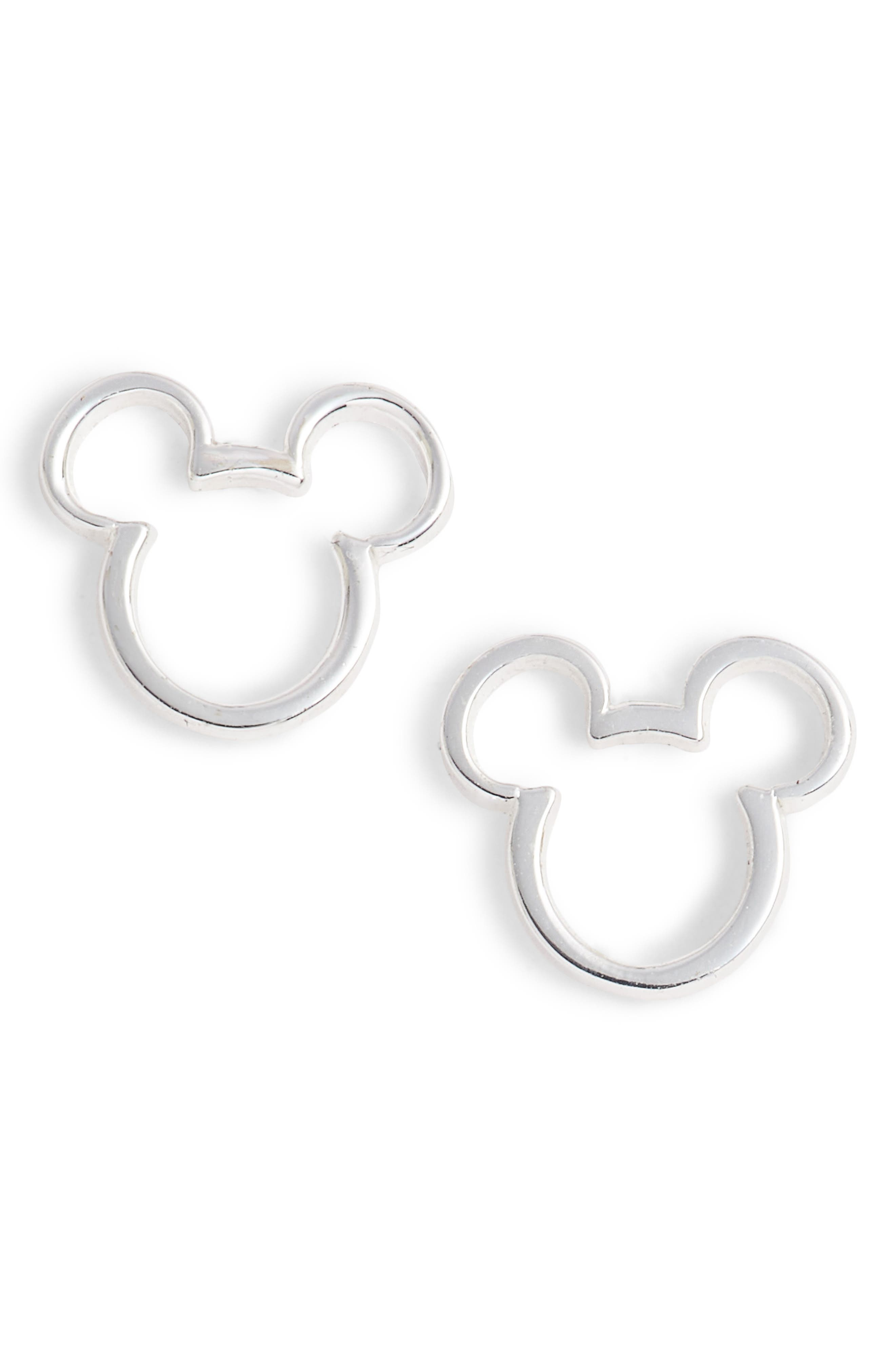Mickey Mouse Stud Earrings,                         Main,                         color, Silver