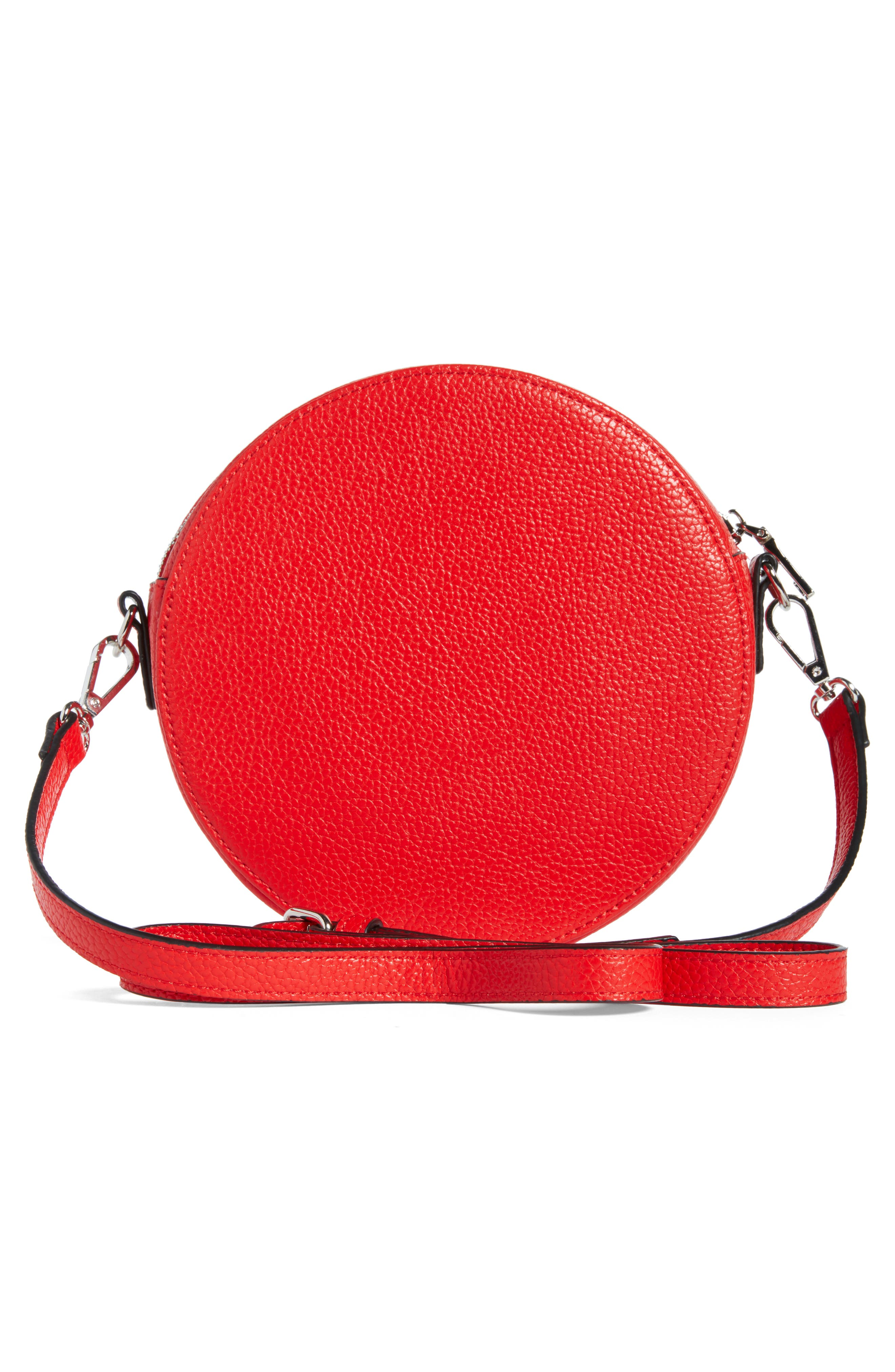 Pebbled Faux Leather Canteen Bag,                             Alternate thumbnail 3, color,                             Red