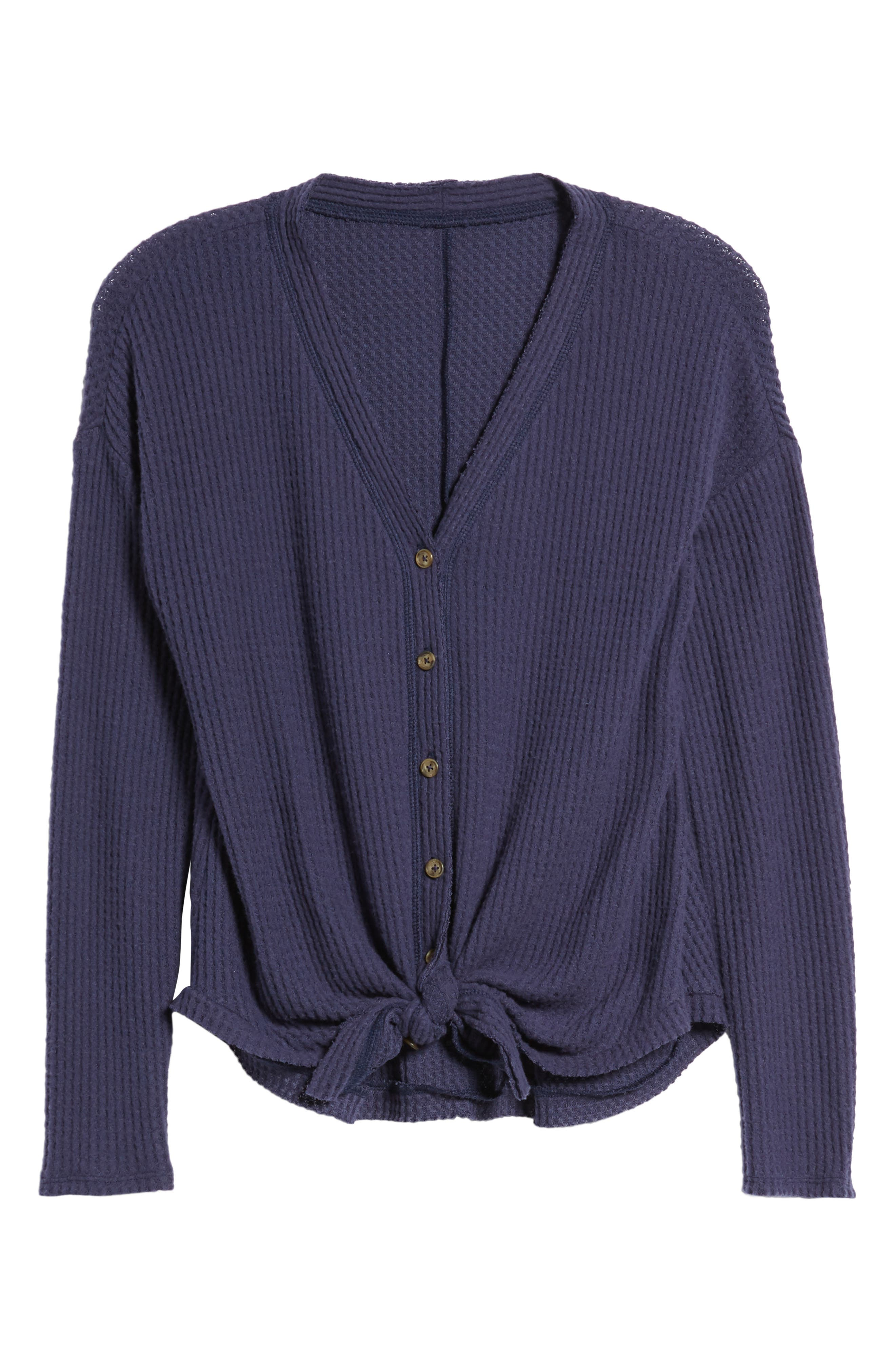 Thermal Button Front Shirt,                         Main,                         color, Evening Blue