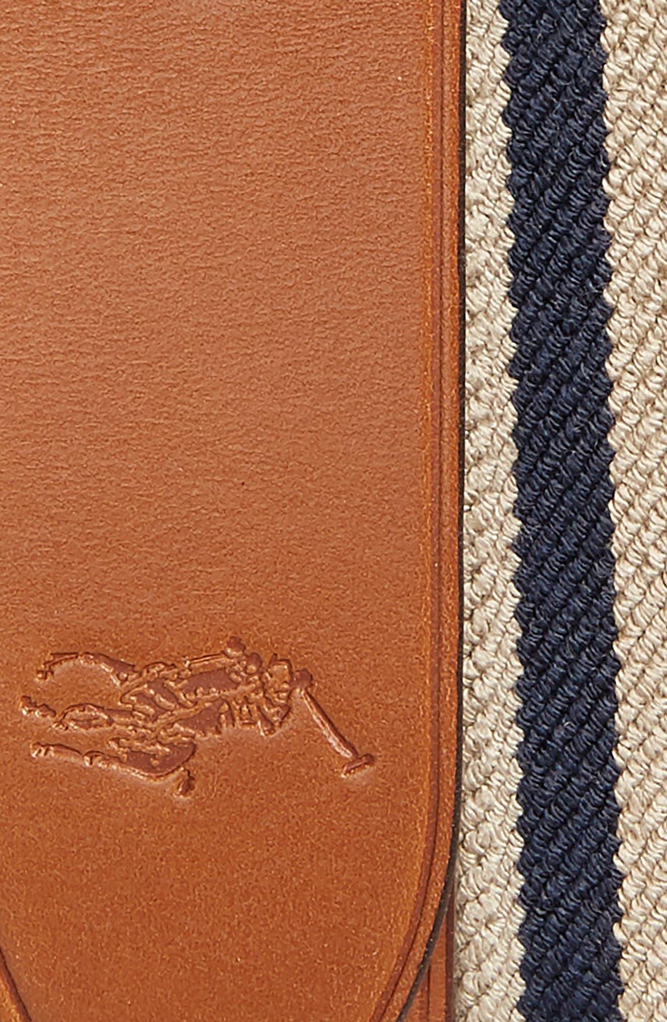 Stretch Web & Leather Belt,                             Alternate thumbnail 2, color,                             Khaki/ Navy