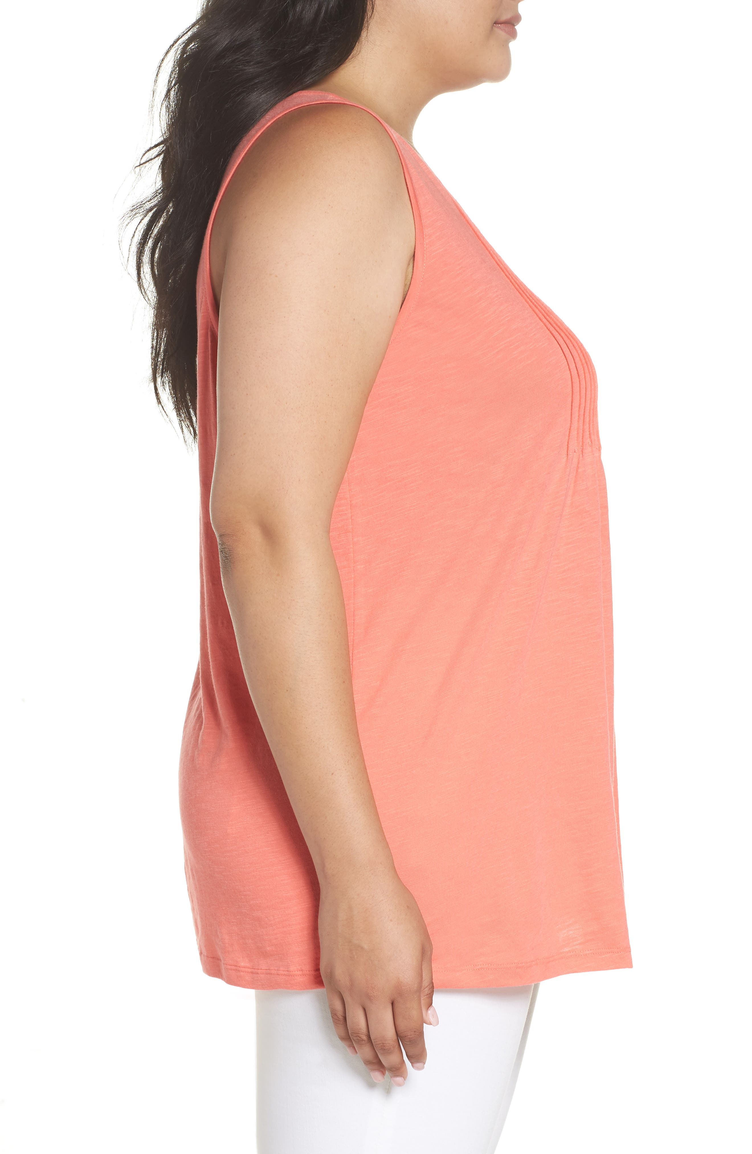 Pintuck Henley Tank,                             Alternate thumbnail 3, color,                             Coral Rose