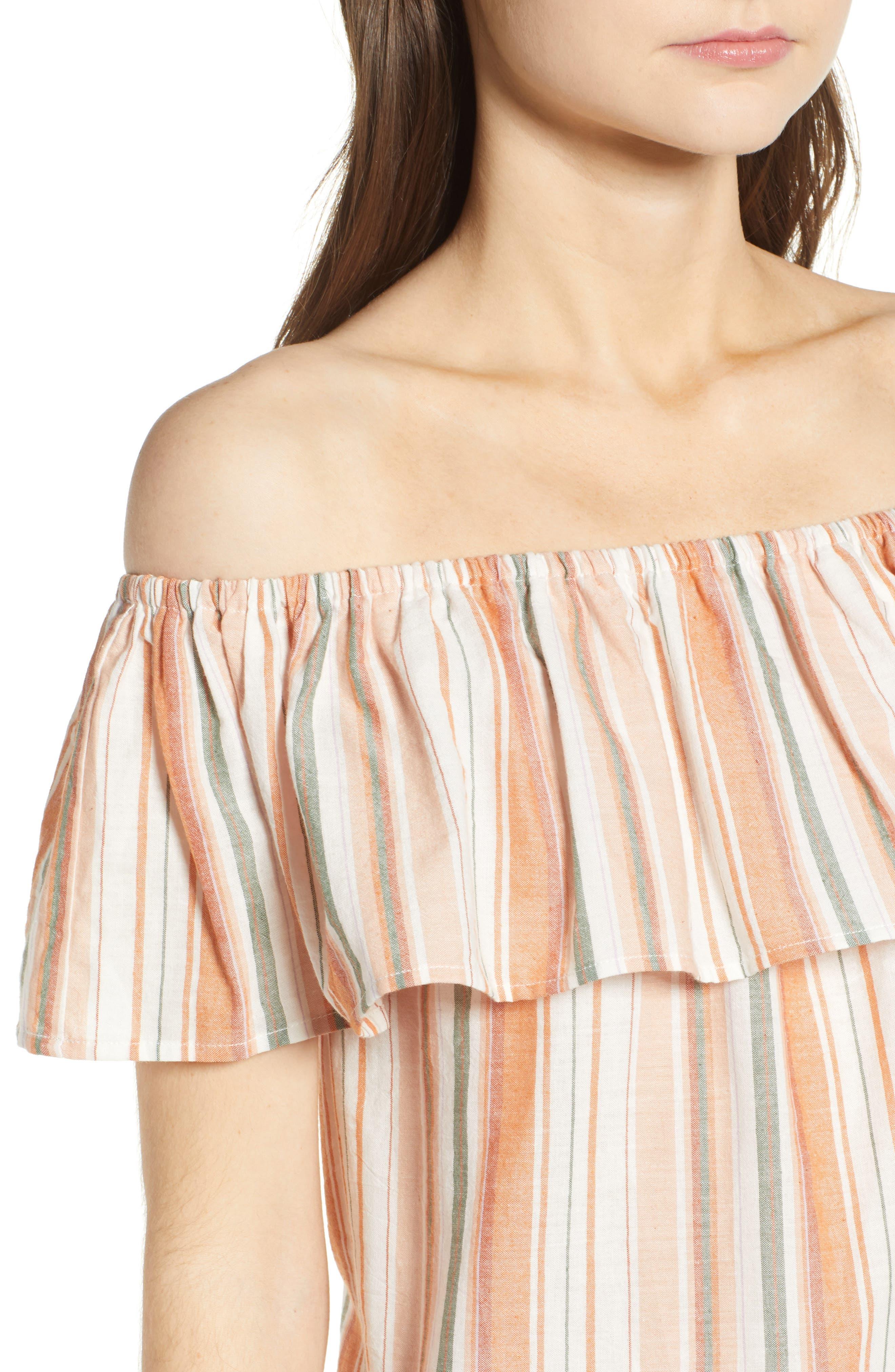 Bishop + Young Sunset Stripe Off the Shoulder Dress,                             Alternate thumbnail 4, color,                             Orange White Stripe