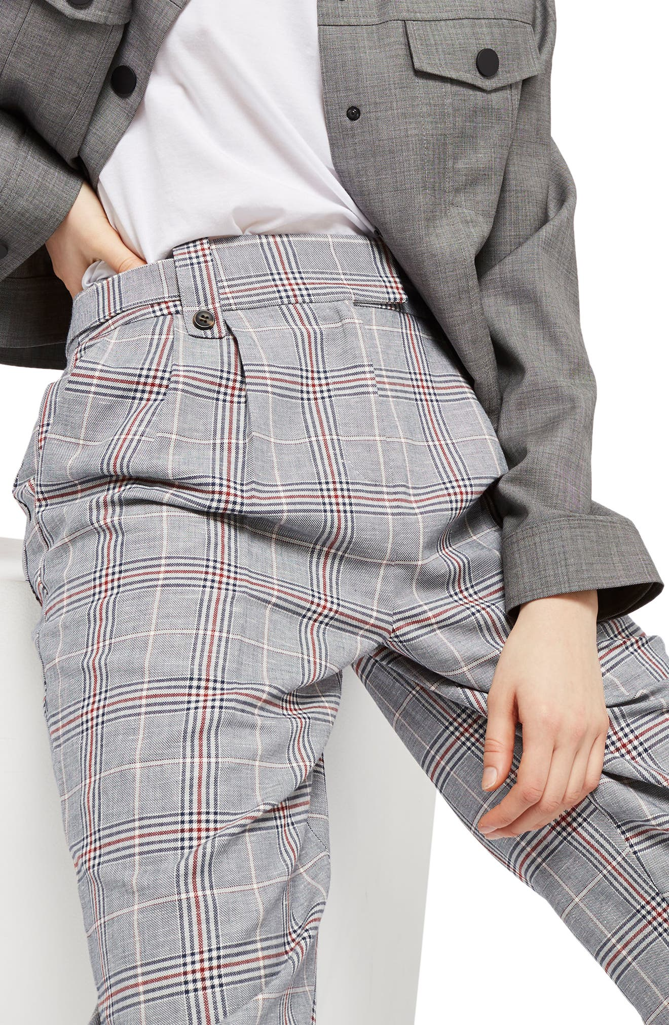 Cham Linen Checked Trousers,                             Alternate thumbnail 3, color,                             Grey  Multi