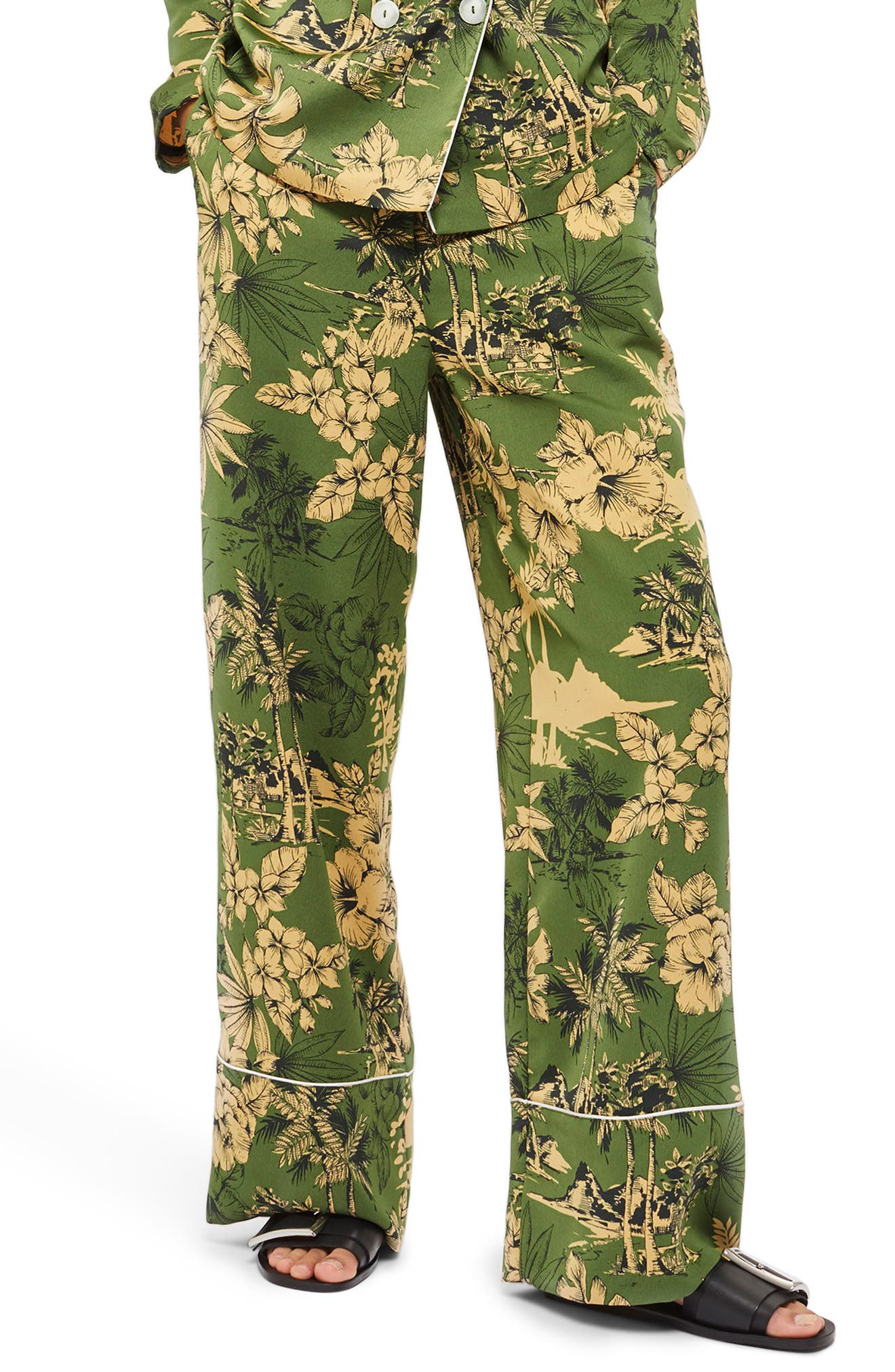Tropical Pajama Trousers,                             Main thumbnail 1, color,                             Green Multi