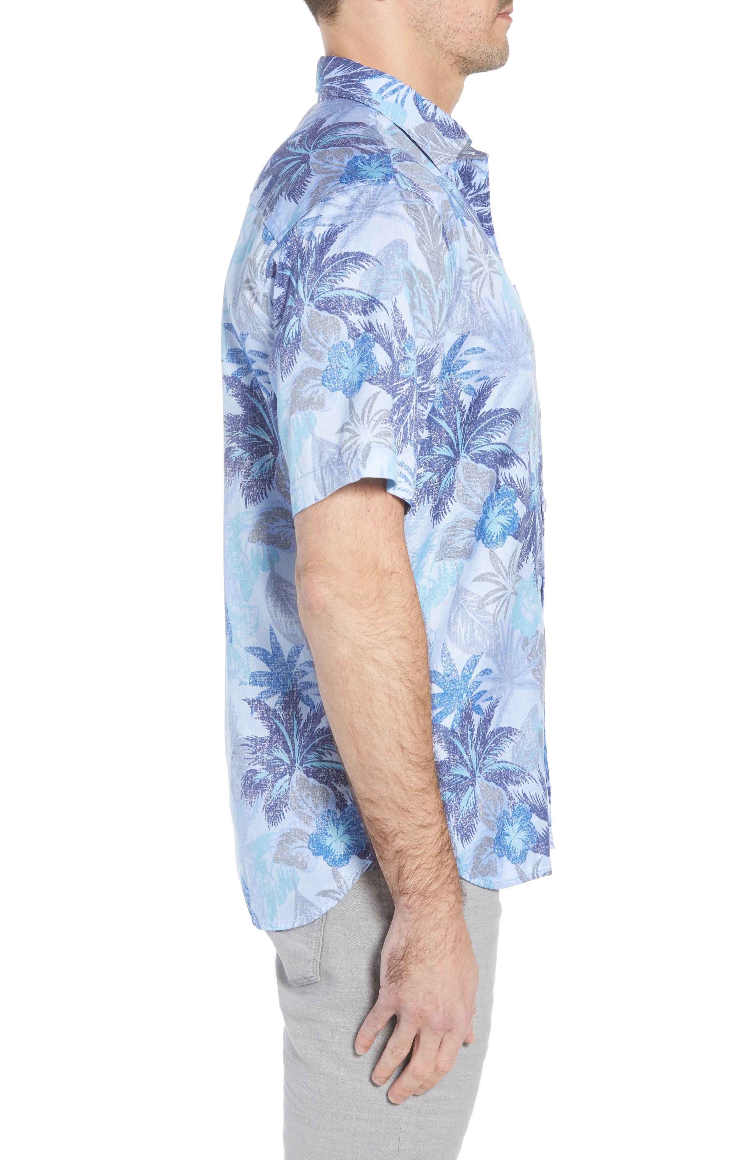 Fuego Flora Sport Shirt,                             Alternate thumbnail 4, color,                             Blue Isles