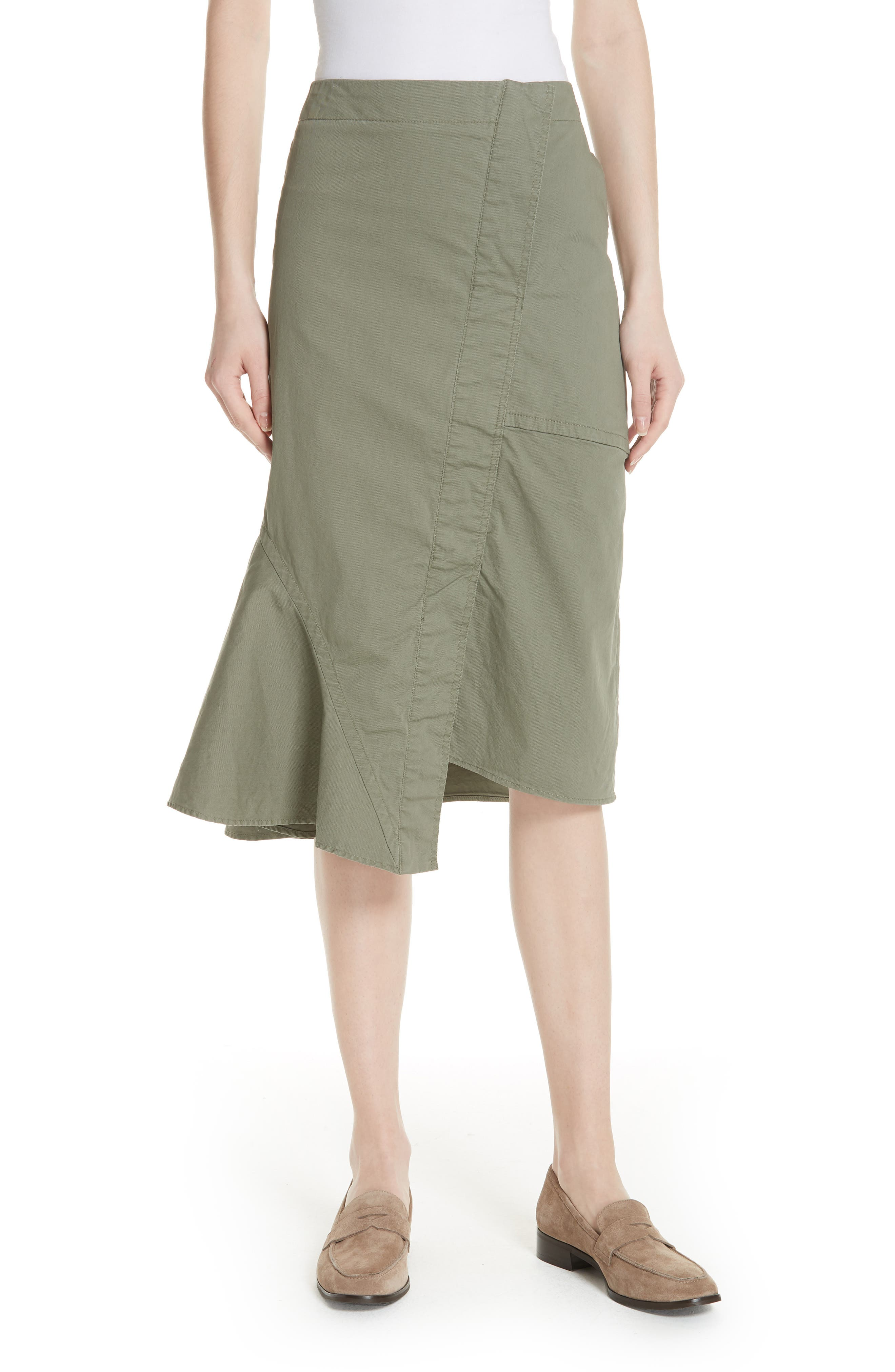 Reconstructed Stretch Cotton Skirt,                         Main,                         color, Faded Army