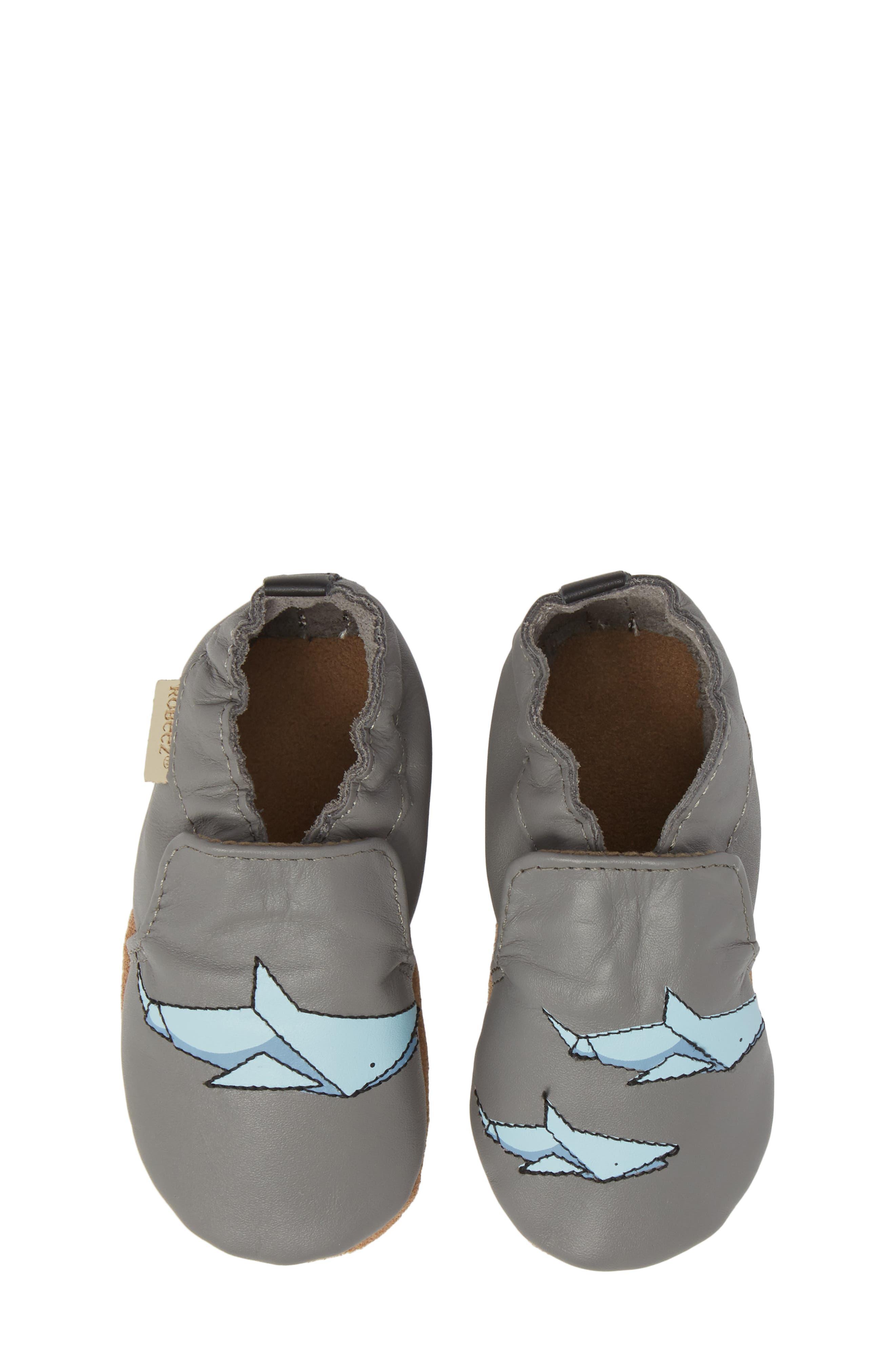 Sharktastic Moccasin Crib Shoe,                         Main,                         color, Grey