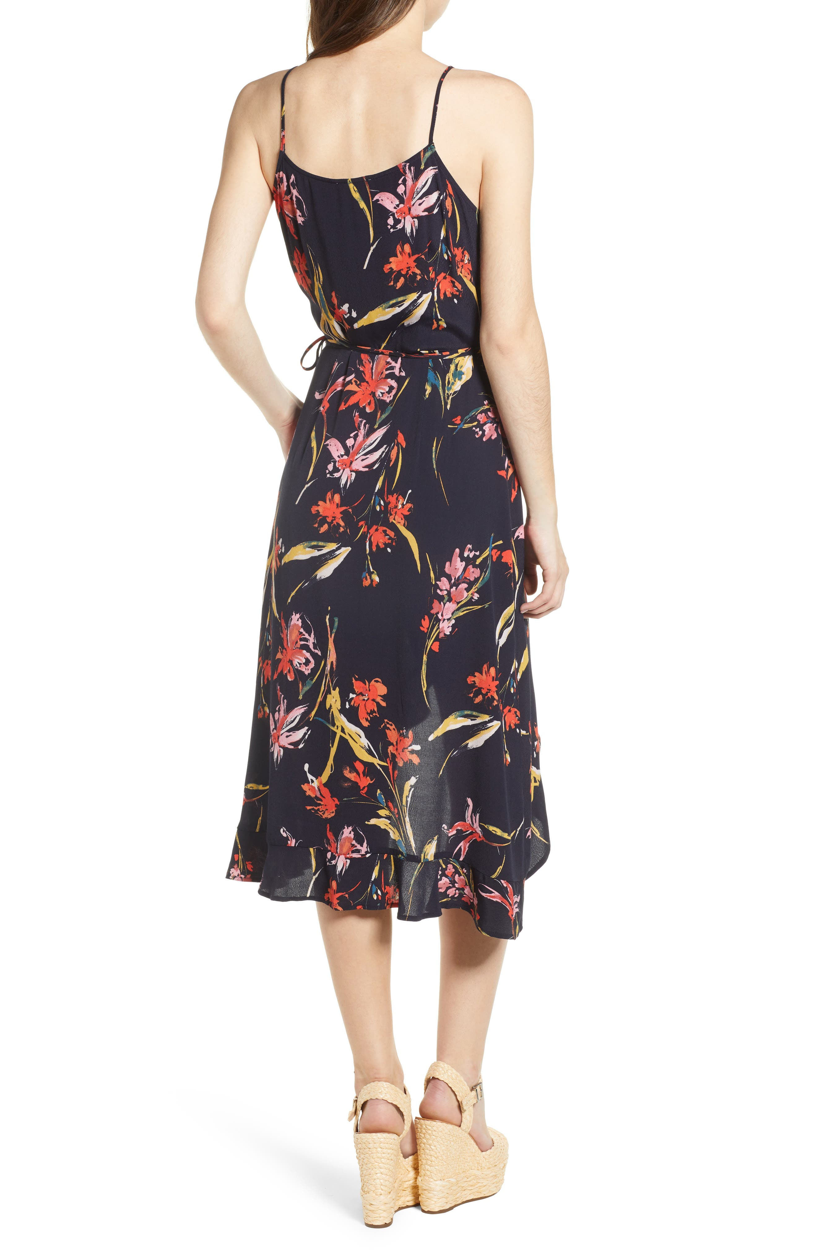 Flounce Wrap Midi Dress,                             Alternate thumbnail 2, color,                             Navy Night Dancing Floral