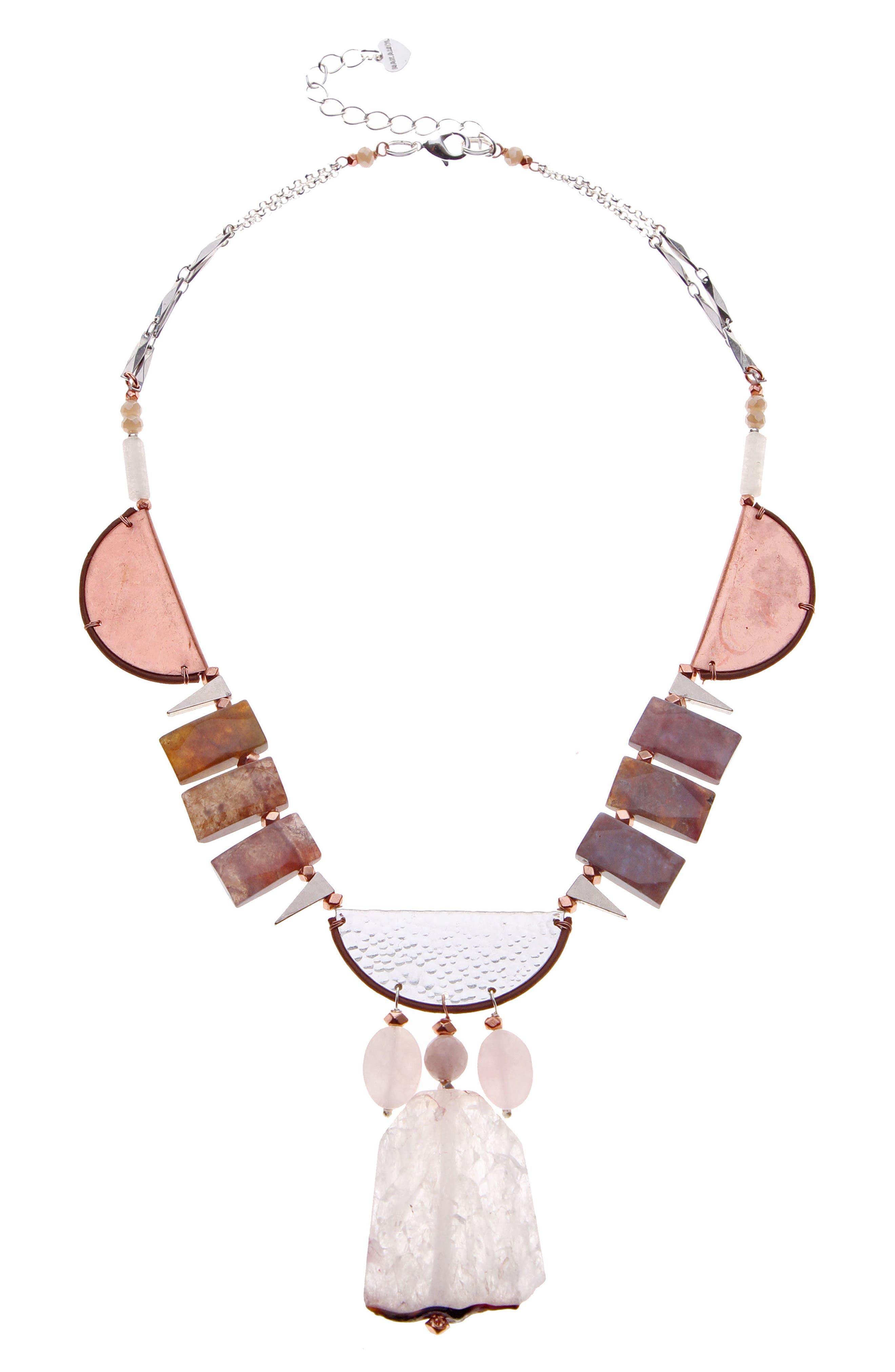 Brass, Agate & Quartz Collar Necklace,                         Main,                         color, Nude
