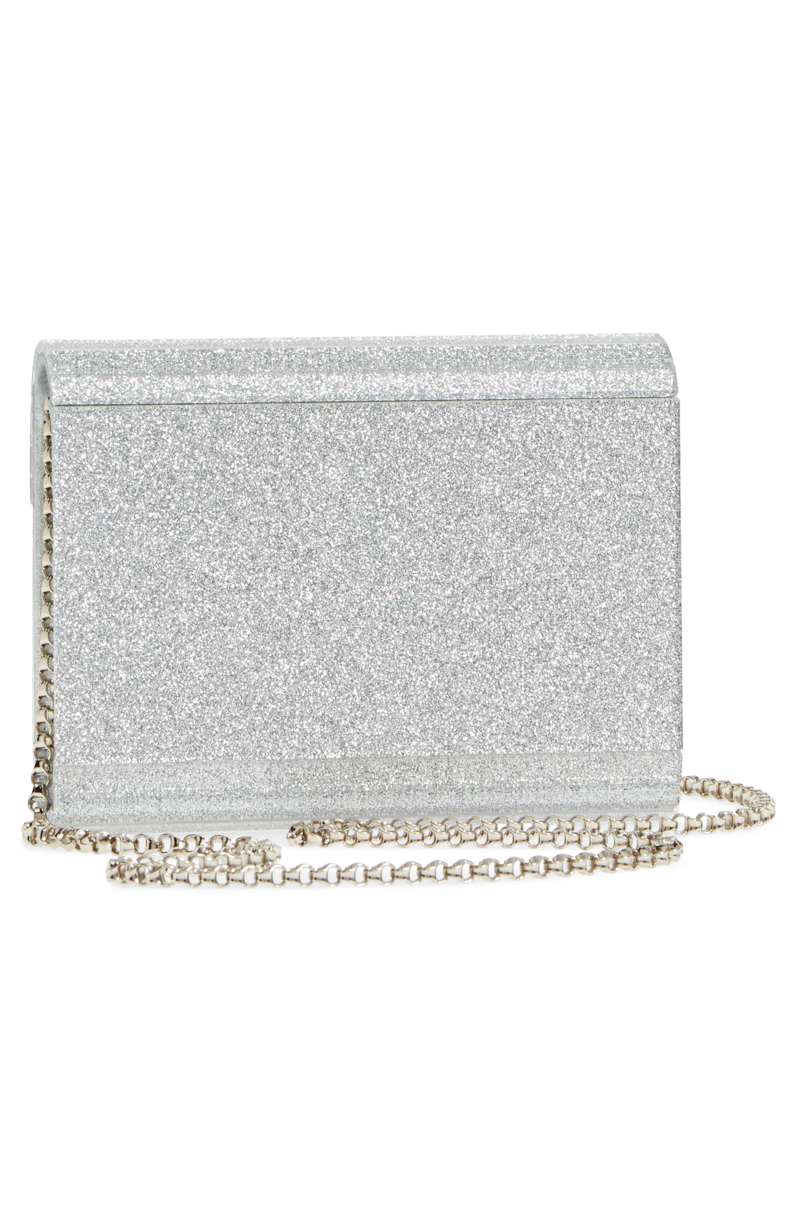 Candy I Want Choo Glitter Clutch,                             Alternate thumbnail 3, color,                             Silver