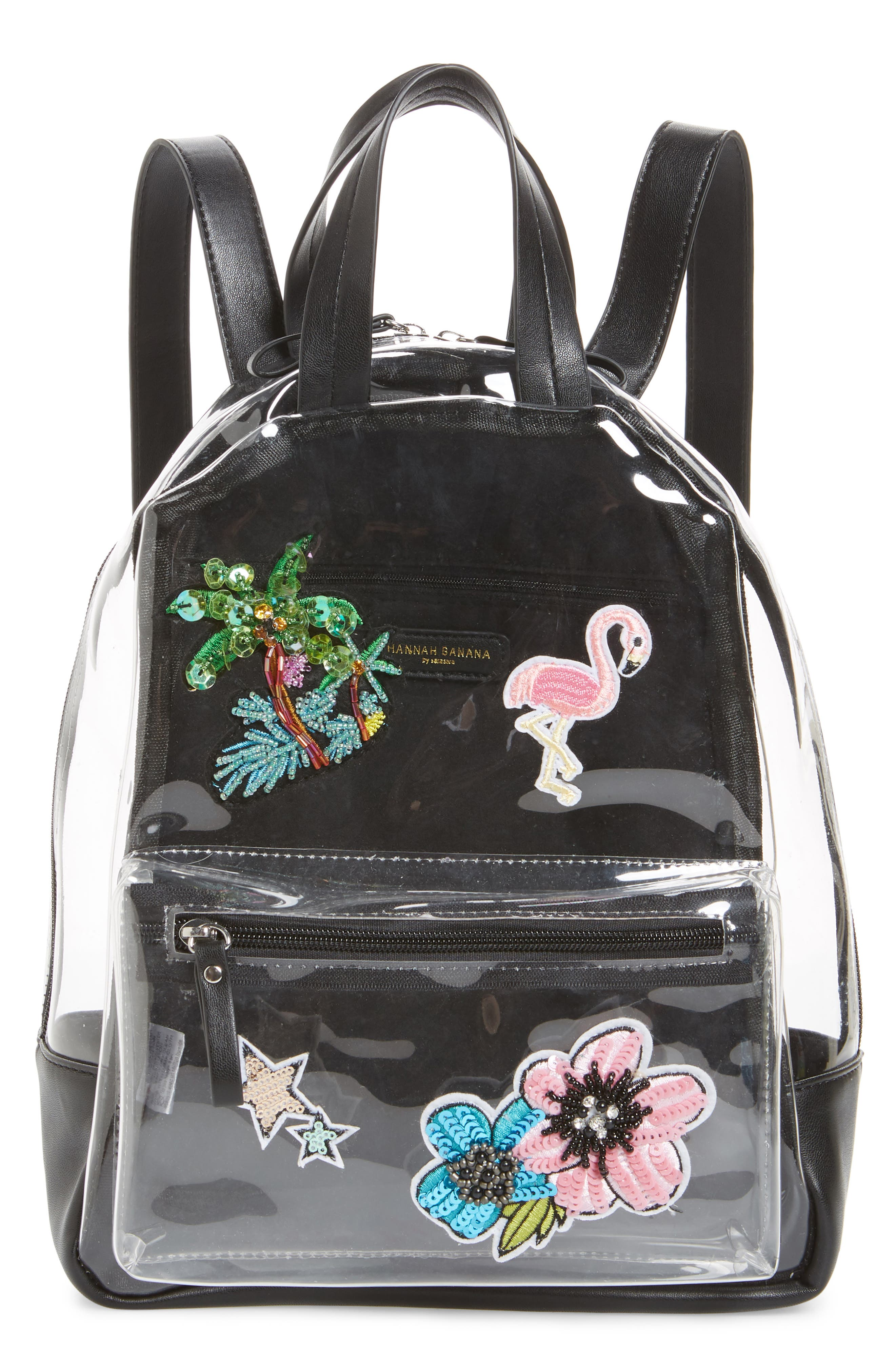 Clear Appliquéd Backpack,                         Main,                         color, Clear
