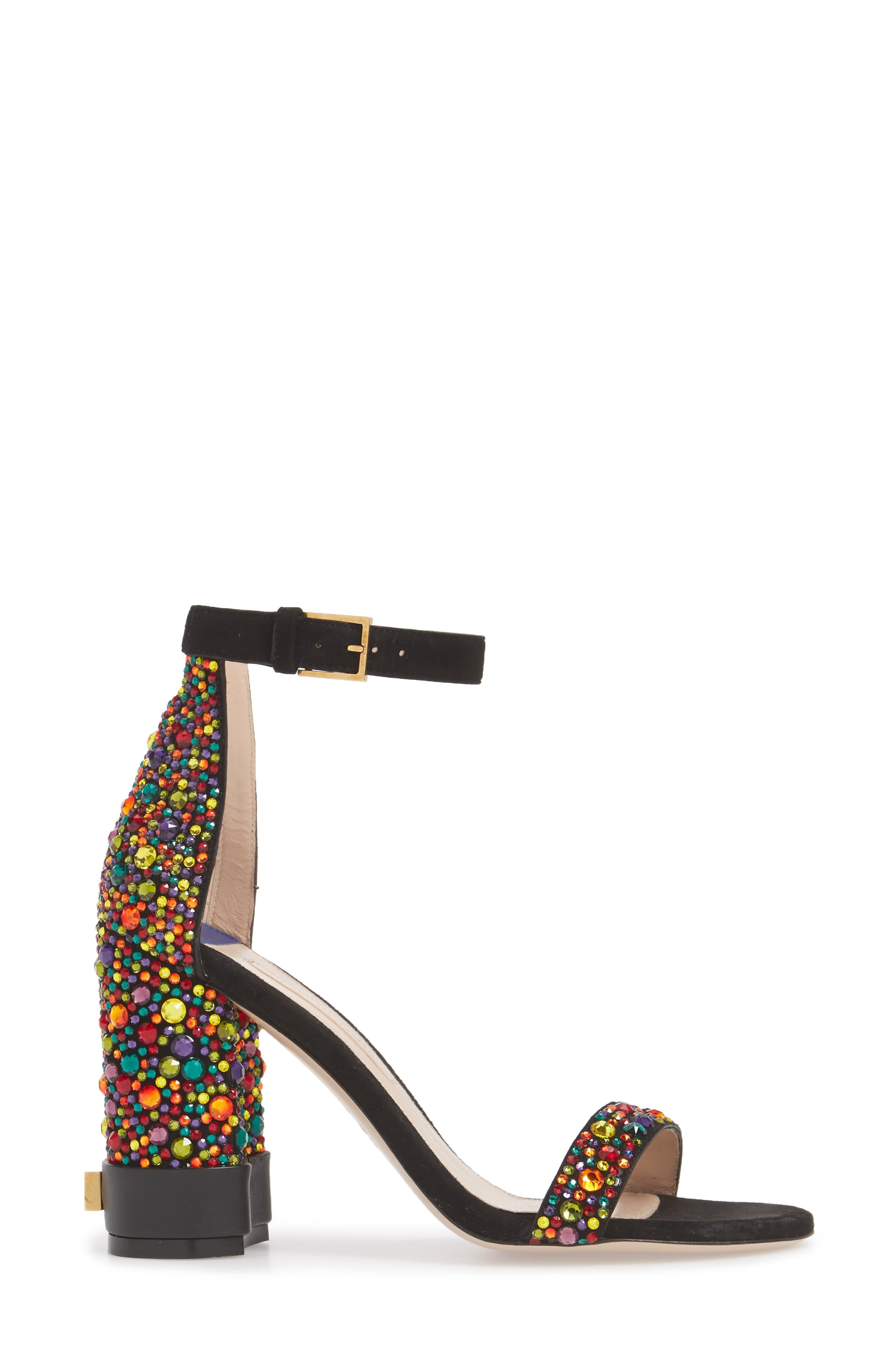 Supernova Embellished Sandal,                             Alternate thumbnail 4, color,                             Black Suede
