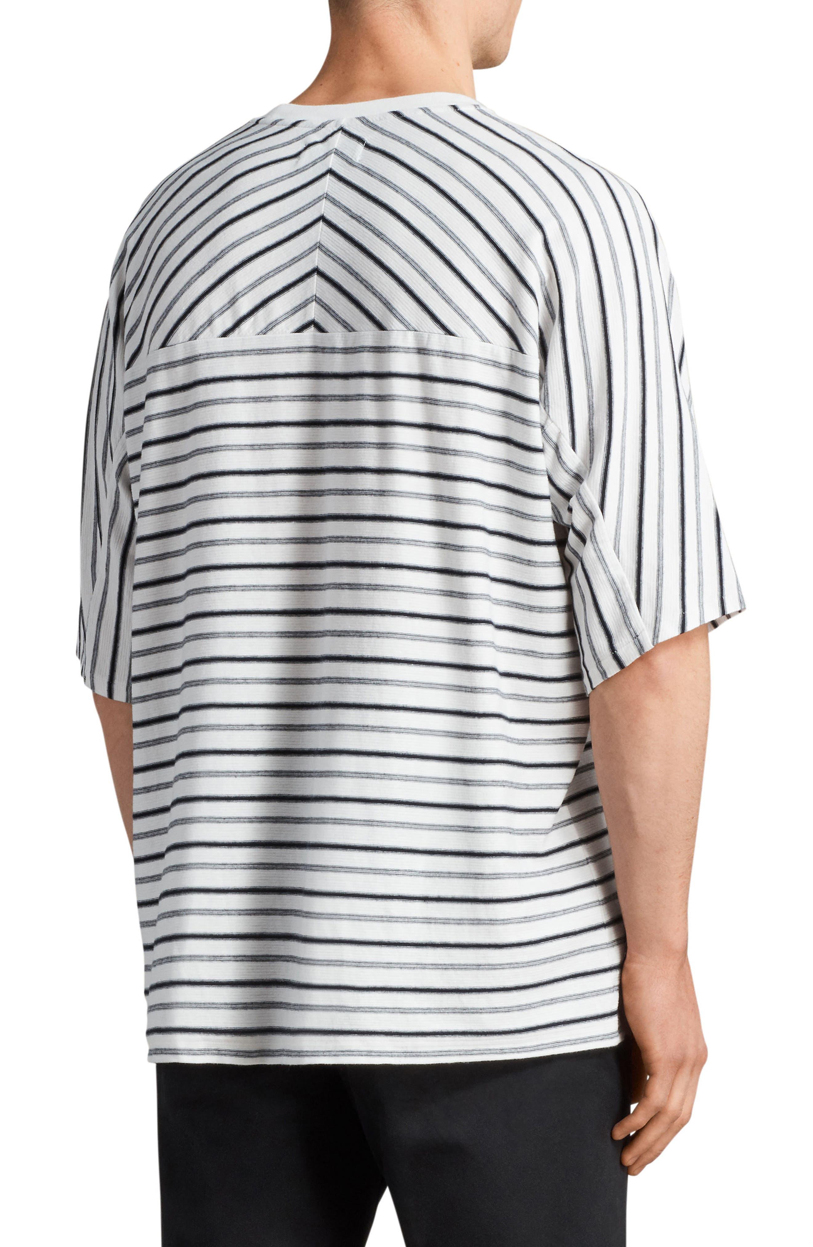 Jules Oversize Stripe T-Shirt,                             Alternate thumbnail 2, color,                             Chk White/ Ink Navy