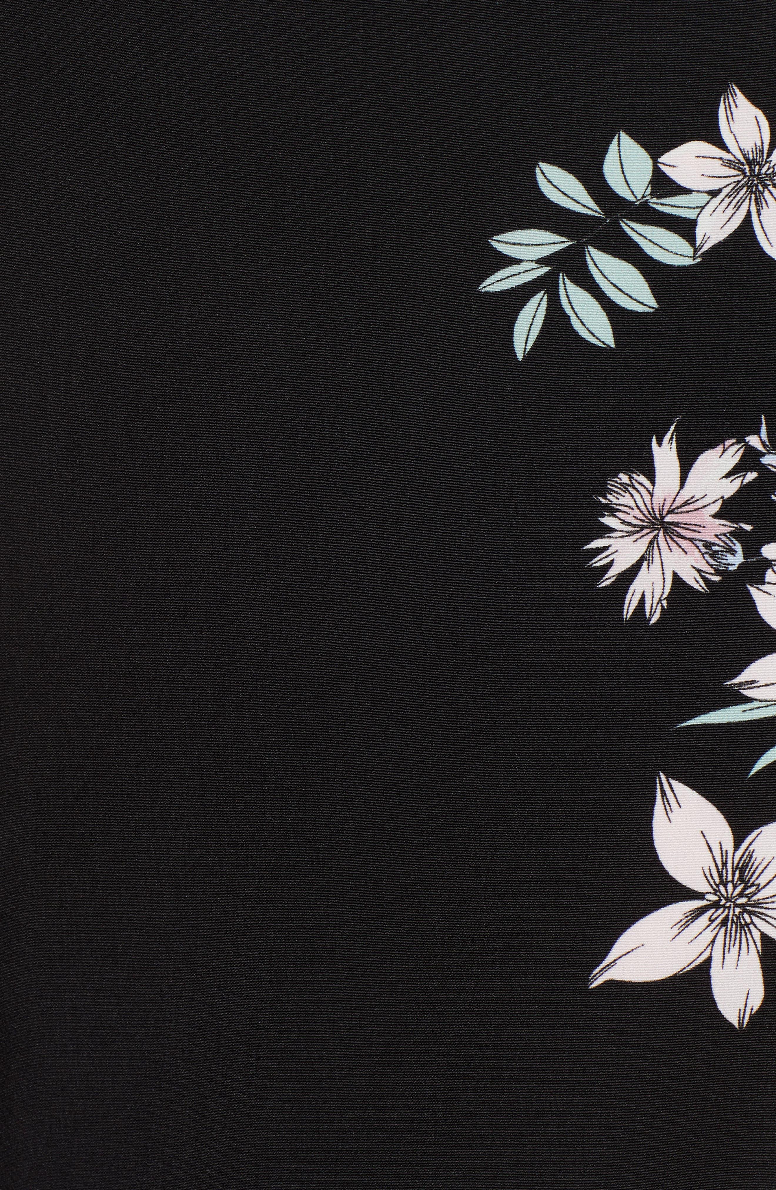 Floral Wide Leg Crop Pants,                             Alternate thumbnail 6, color,                             Rich Black