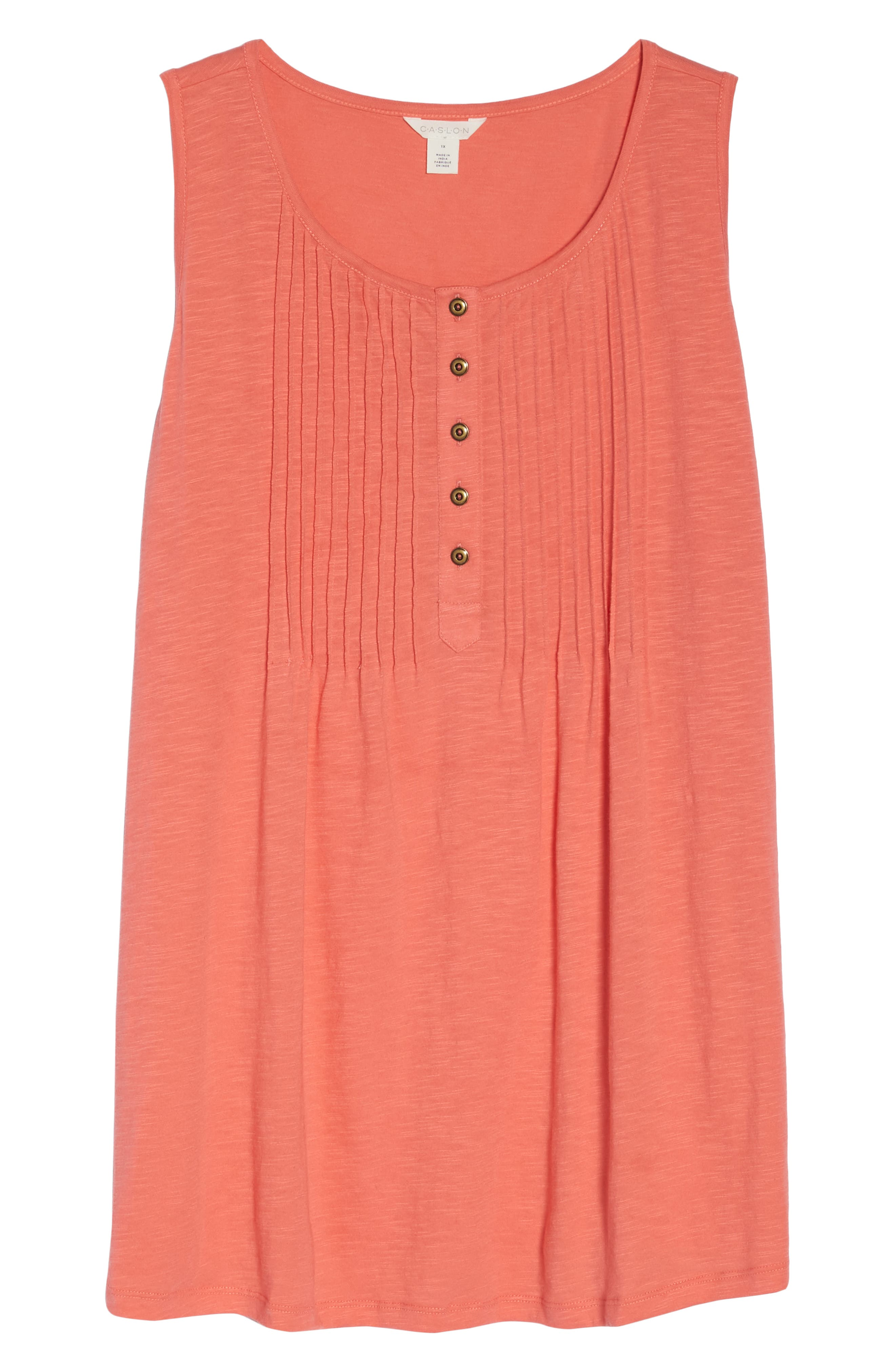 Pintuck Henley Tank,                             Alternate thumbnail 7, color,                             Coral Rose