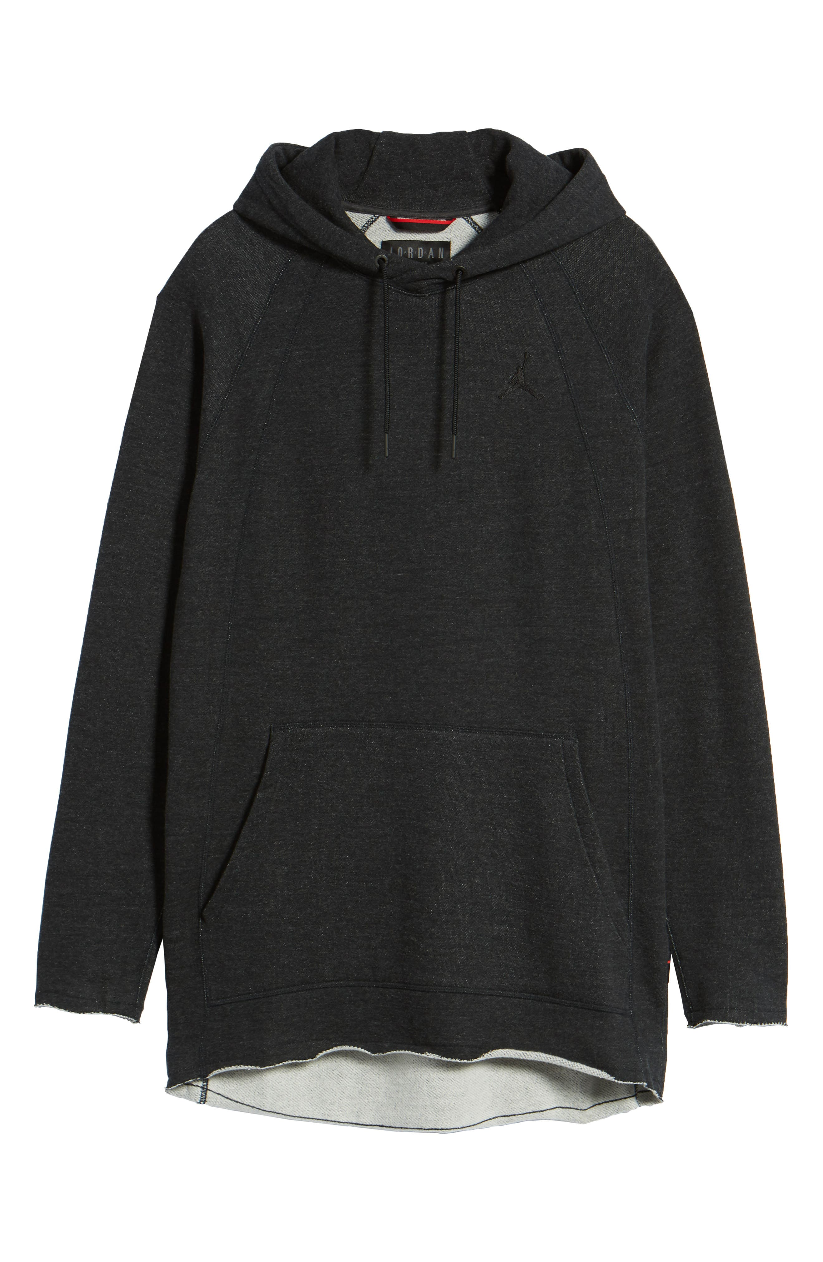 Wings Light French Terry Hoodie,                             Alternate thumbnail 6, color,                             Black Heather/ Black