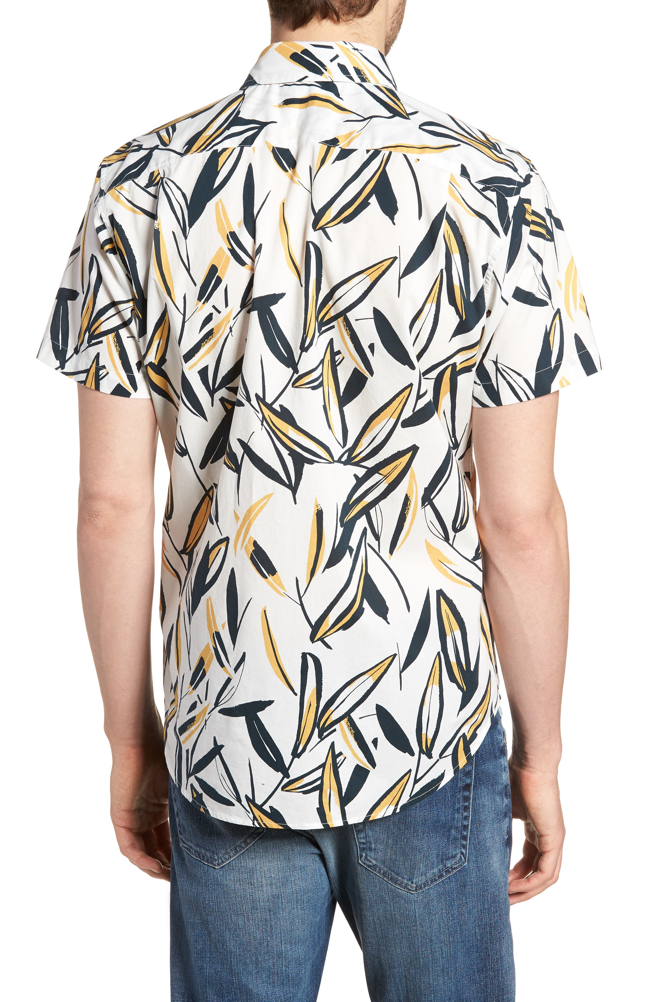 Riviera Slim Fit Leafy Print Sport Shirt,                             Alternate thumbnail 5, color,                             Leafy Arbor - Curry