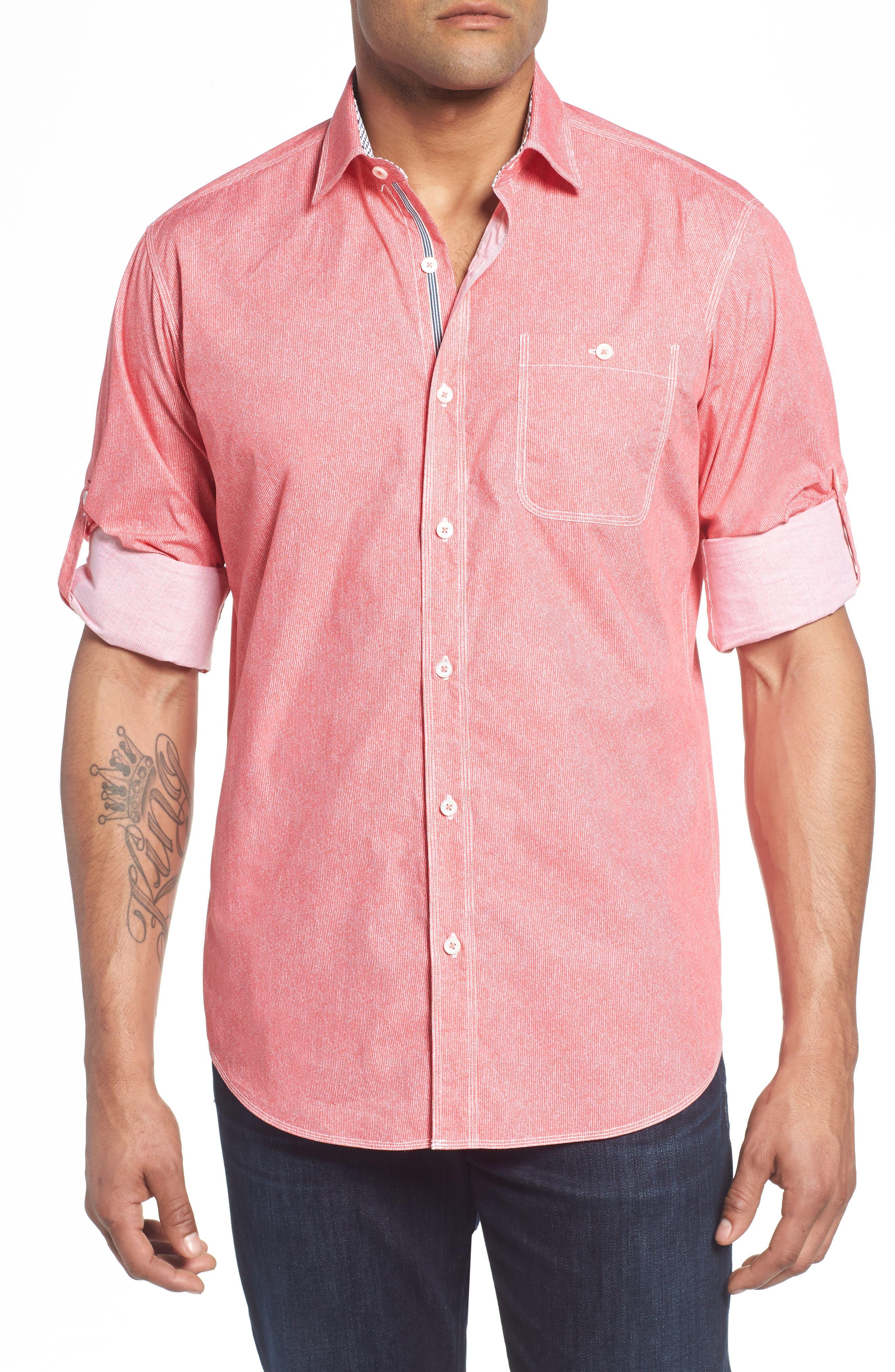 Classic Fit Stripe Sport Shirt,                         Main,                         color, Pink