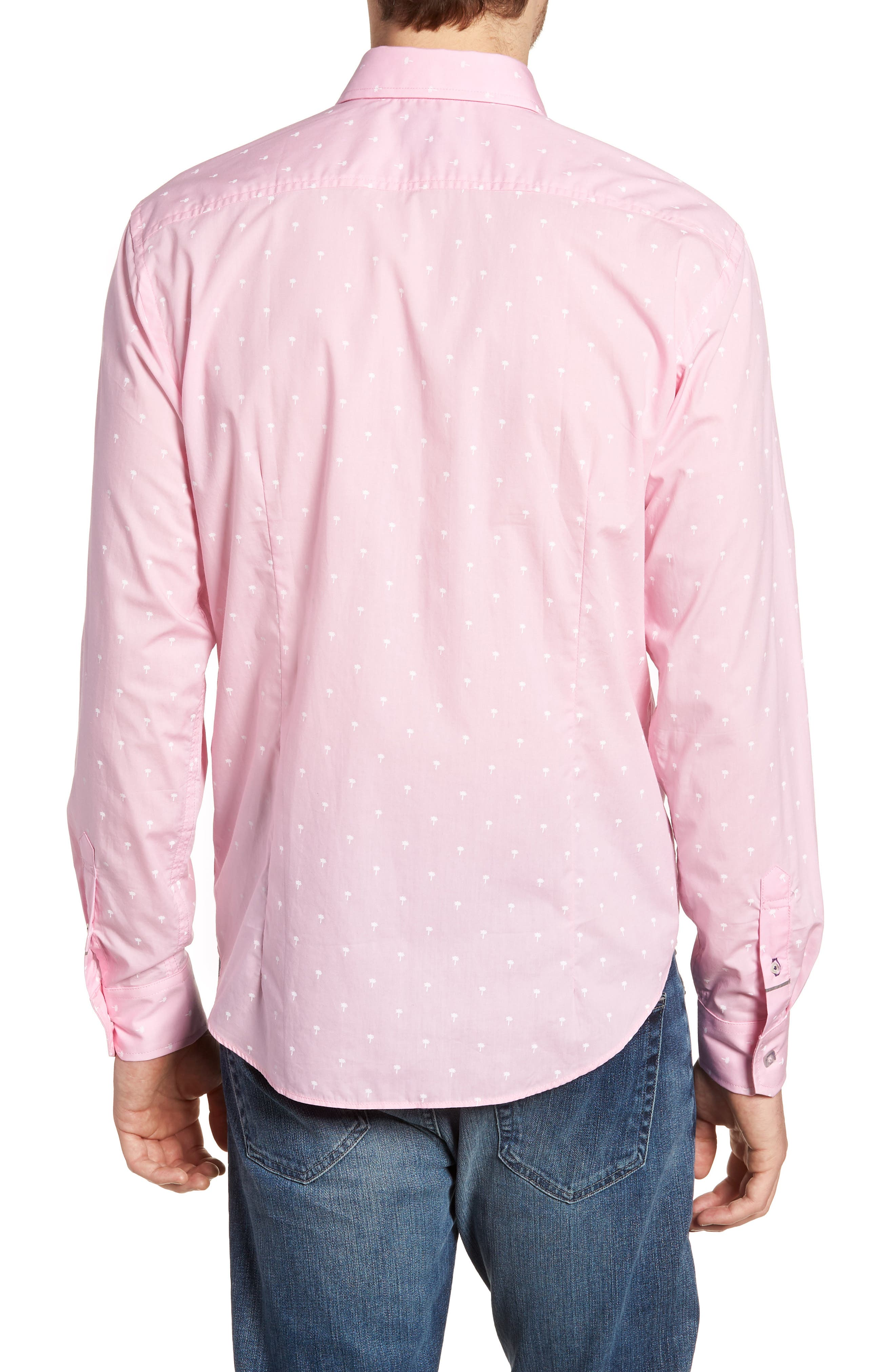 Comfort Fit Palm Print Sport Shirt,                             Alternate thumbnail 3, color,                             Light Pink