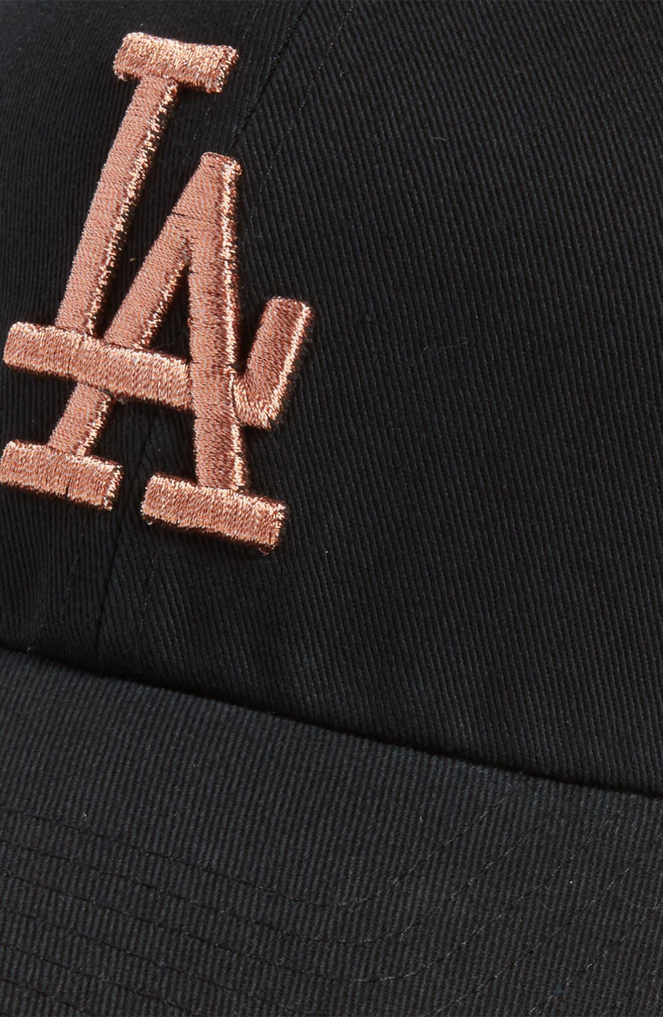 Los Angeles Dodgers Metallic Embroidery Cap,                             Alternate thumbnail 3, color,                             Black