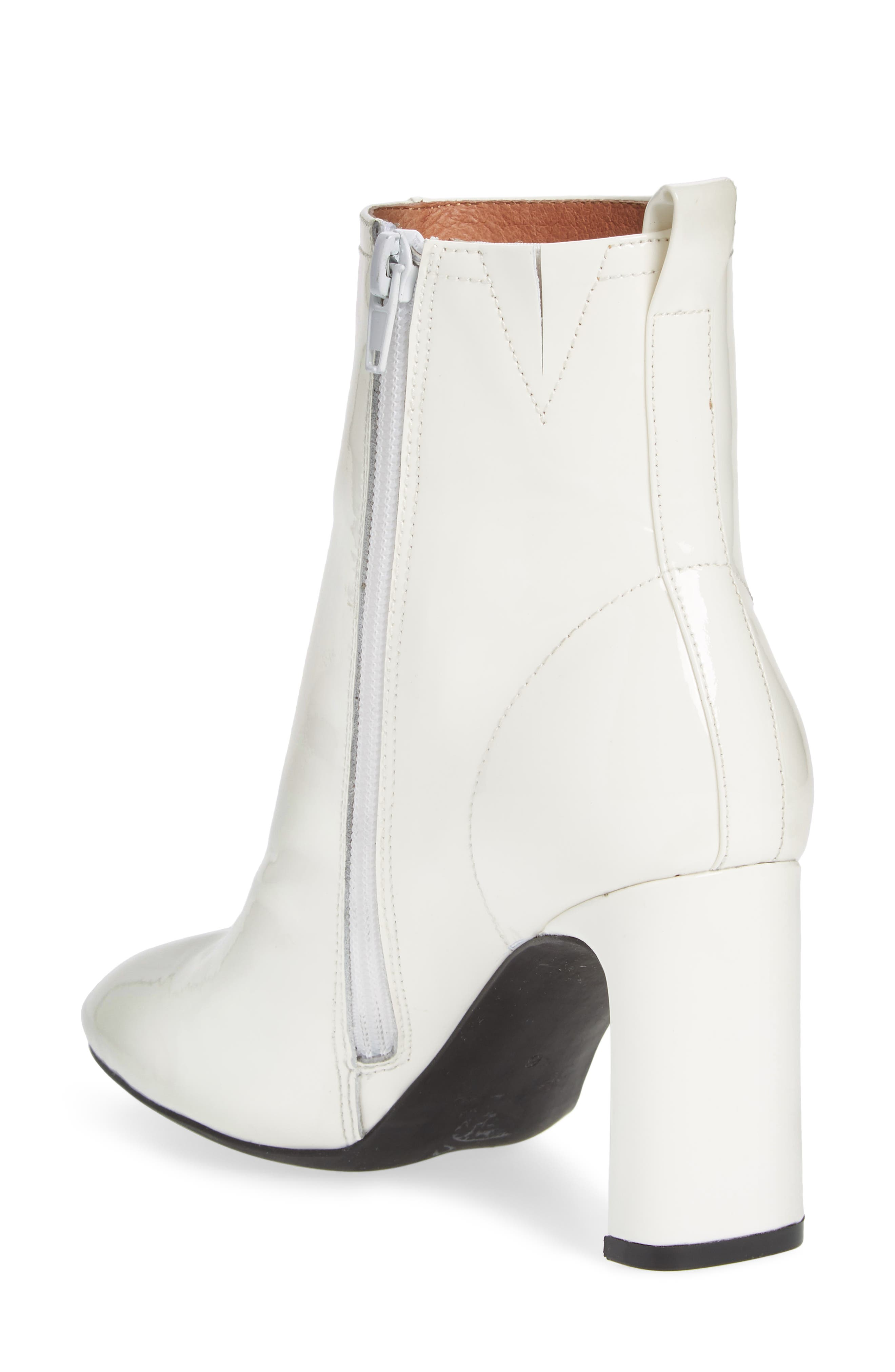 Chapel Curved Heel Bootie,                             Alternate thumbnail 2, color,                             White Patent Leather