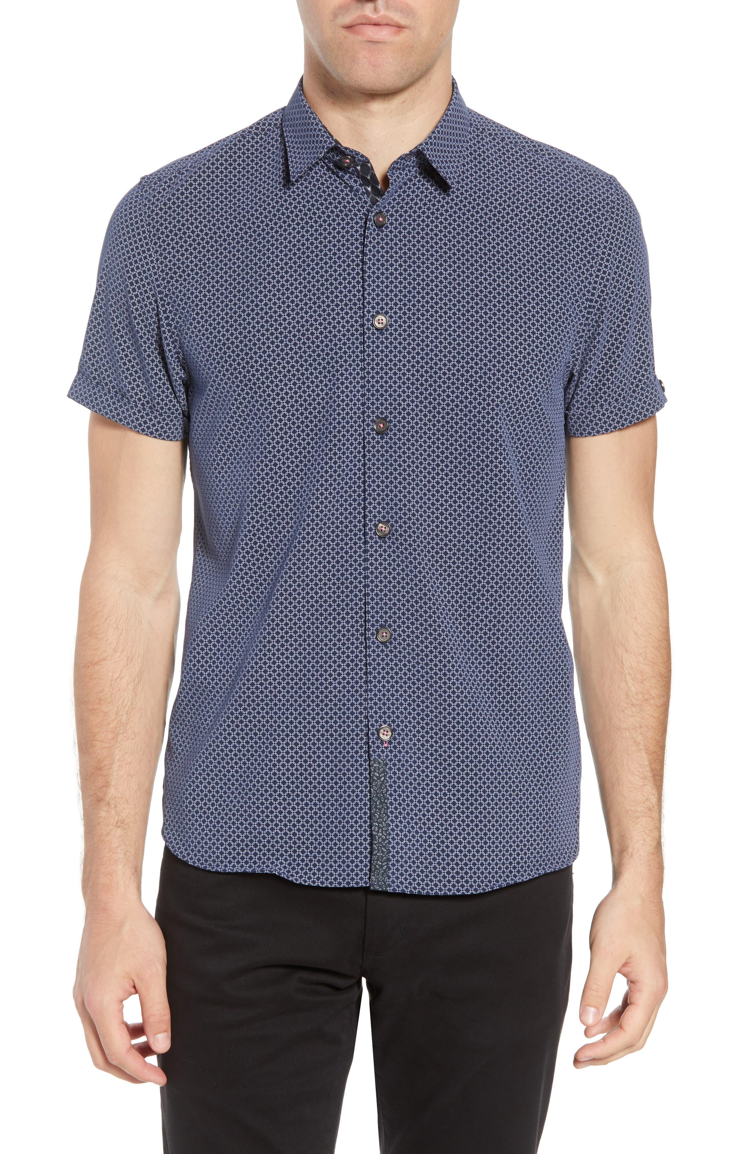 Slim Fit Short Sleeve Sport Shirt,                             Main thumbnail 1, color,                             Navy
