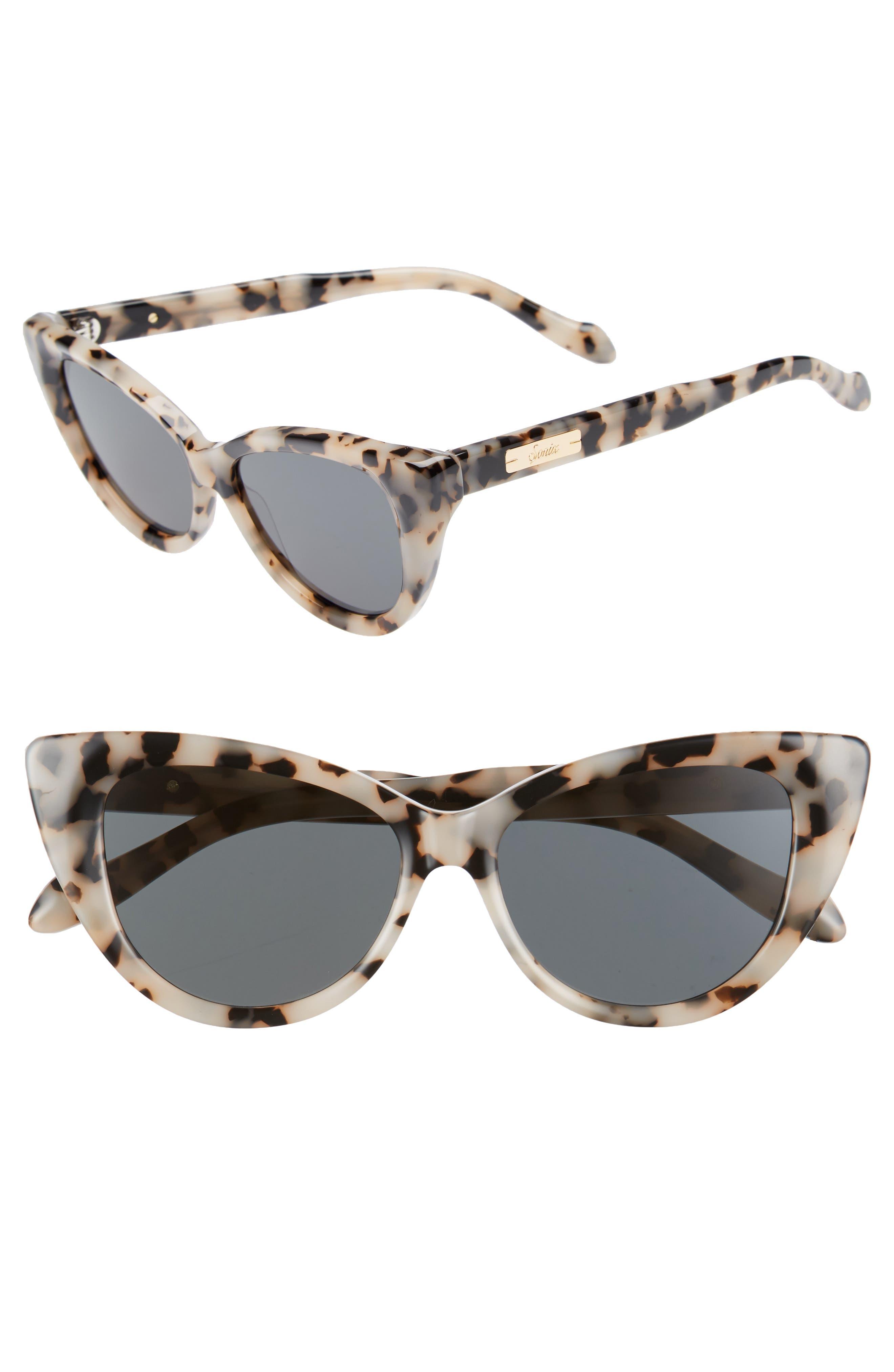Kyoto 51mm Cat Eye Sunglasses,                         Main,                         color, Milk Tortoise/ Black Solid