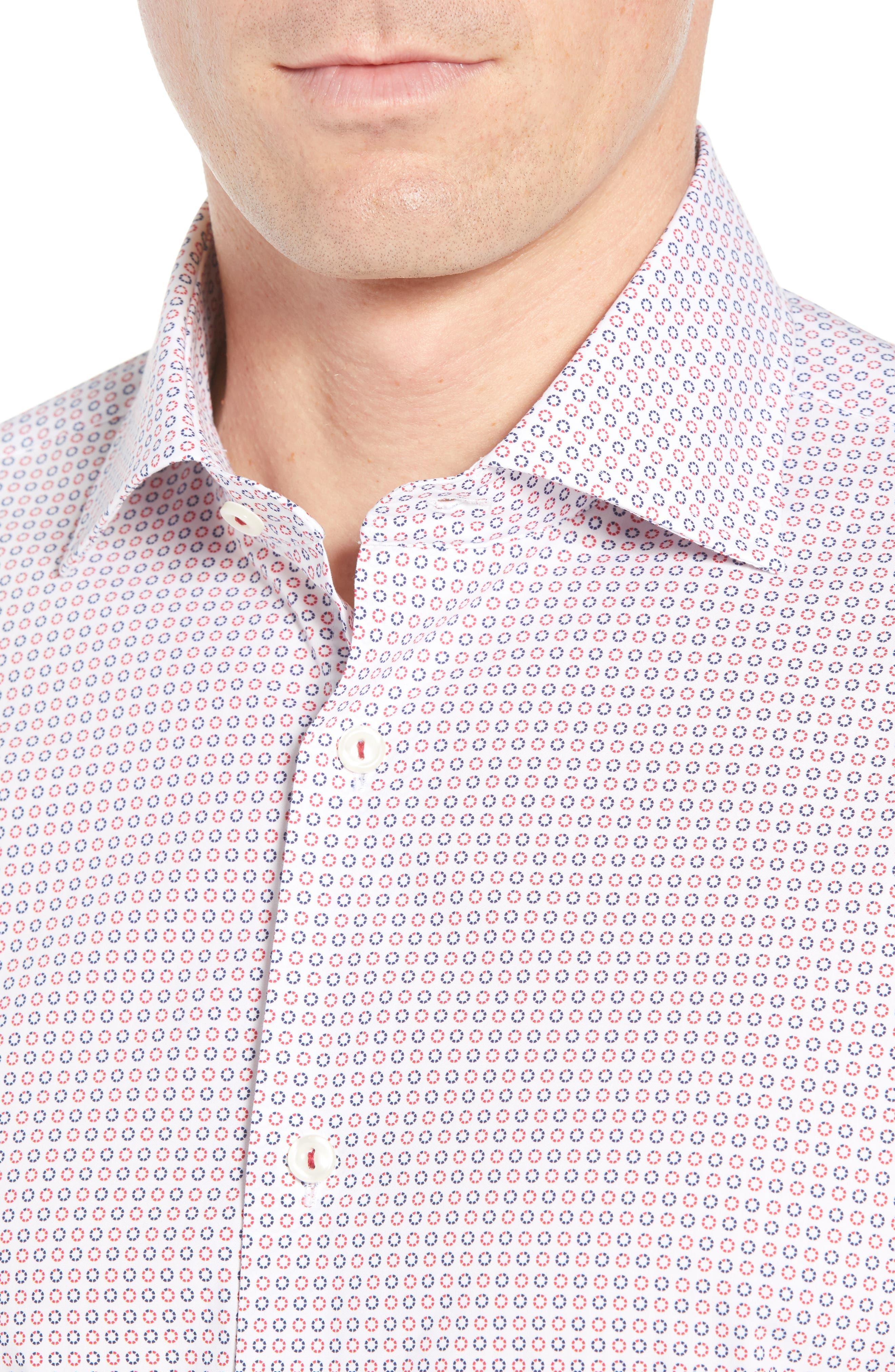 Trim Fit Dot Dress Shirt,                             Alternate thumbnail 2, color,                             Ruby