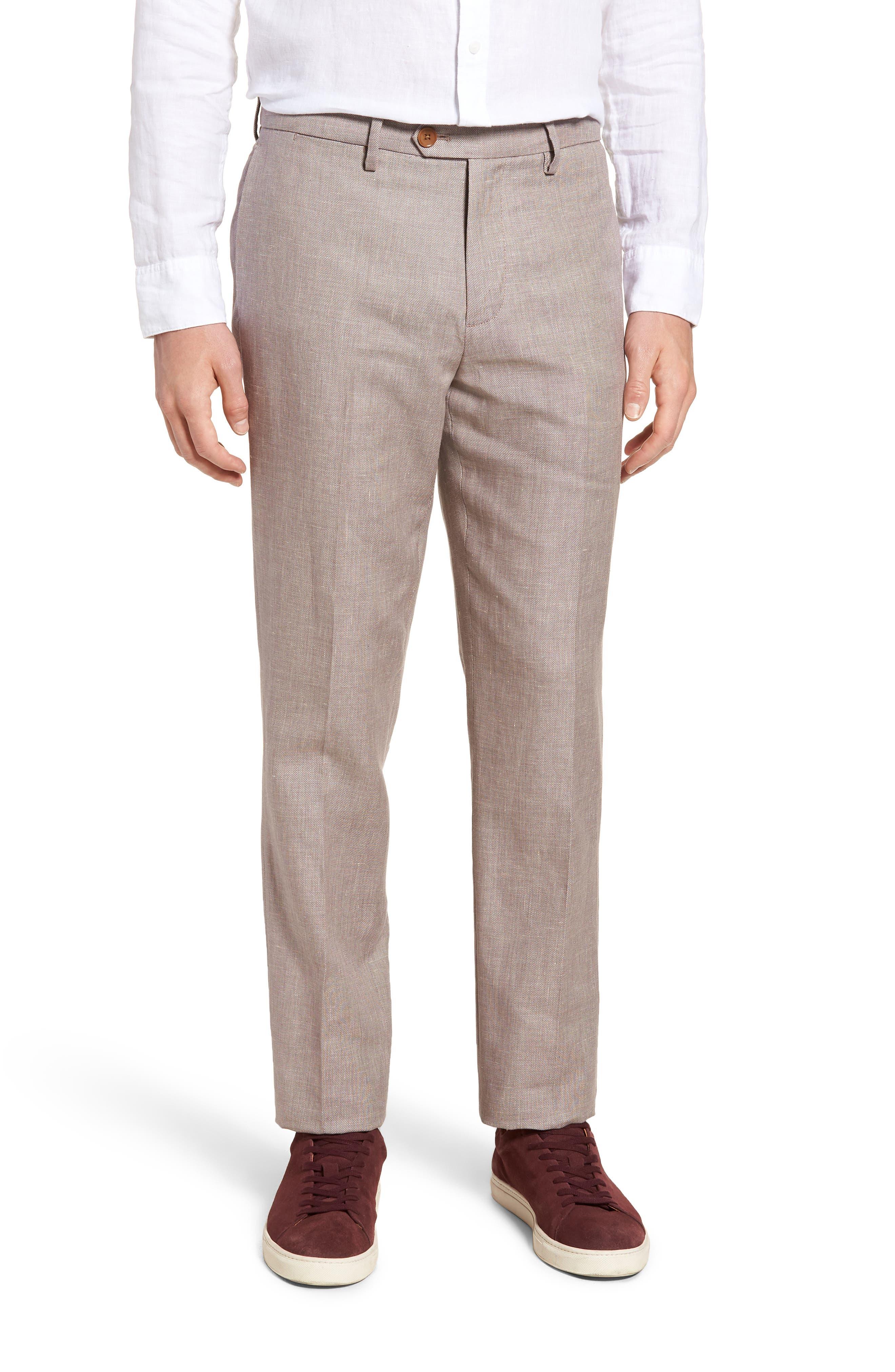 Flat Front Solid Stretch Cotton & Linen Pants,                             Main thumbnail 1, color,                             Brown