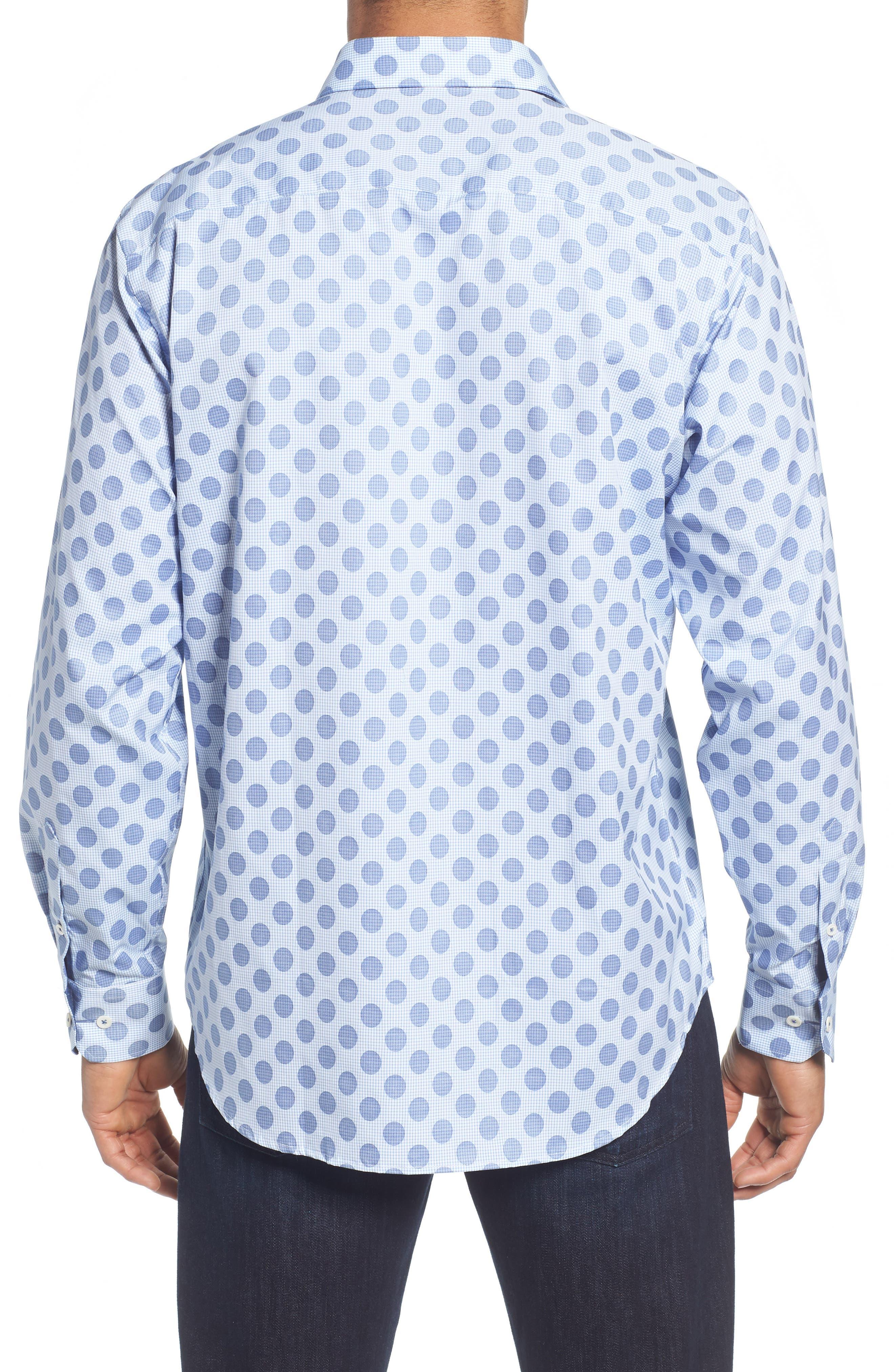 Classic Fit Dot Check Sport Shirt,                             Alternate thumbnail 3, color,                             Air Blue