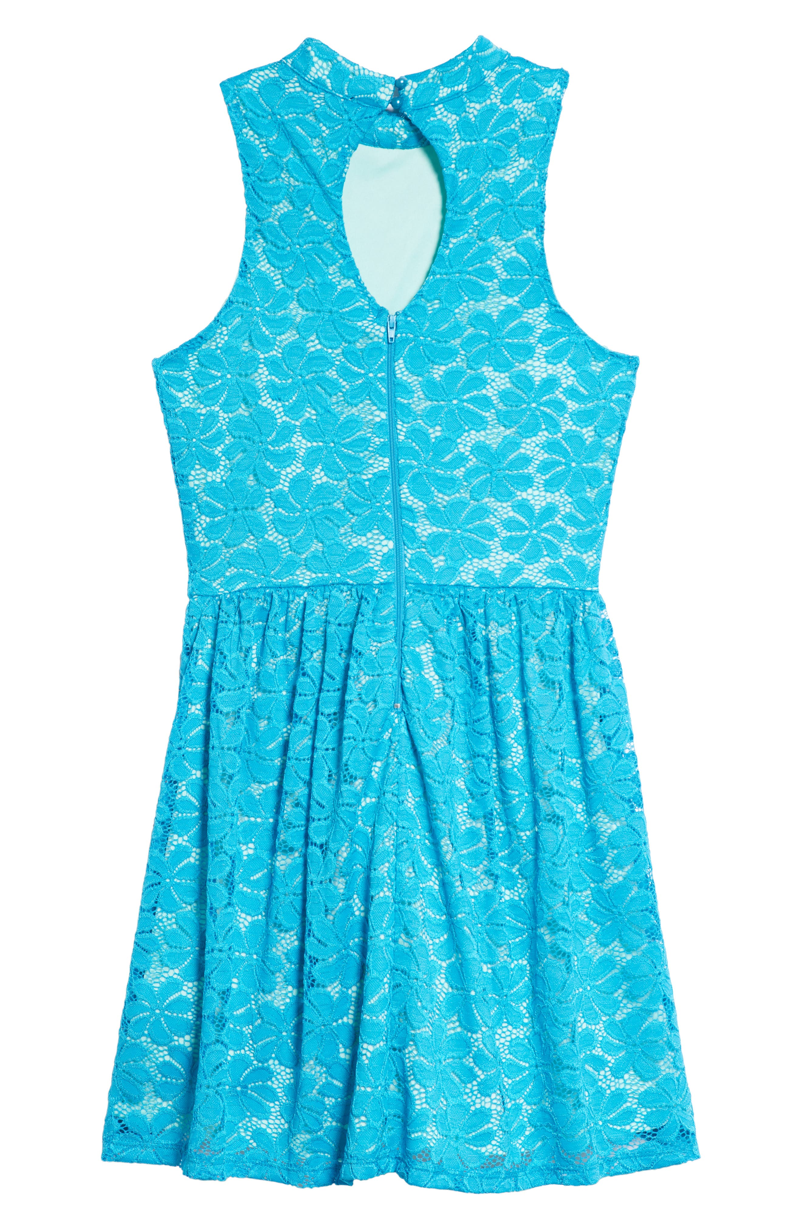 Hailee Lace Dress,                             Alternate thumbnail 2, color,                             Teal