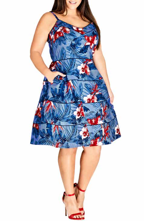 1b053c70730d City Chic Love Hawaii Fit   Flare Dress (Plus Size)