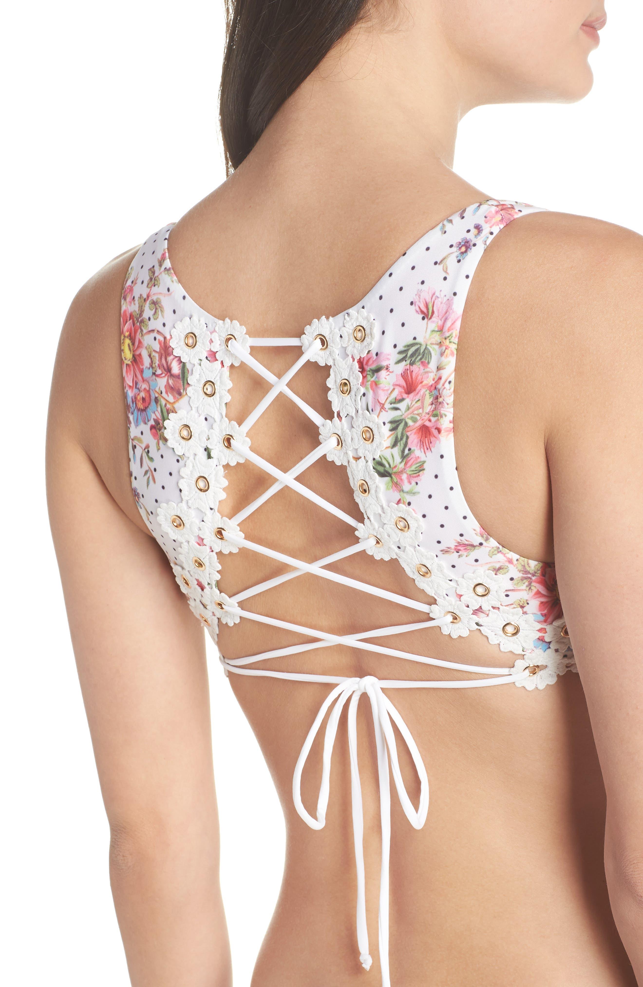 A Bit of Bubbly Cutout One-Piece Swimsuit,                             Alternate thumbnail 4, color,                             White Multi