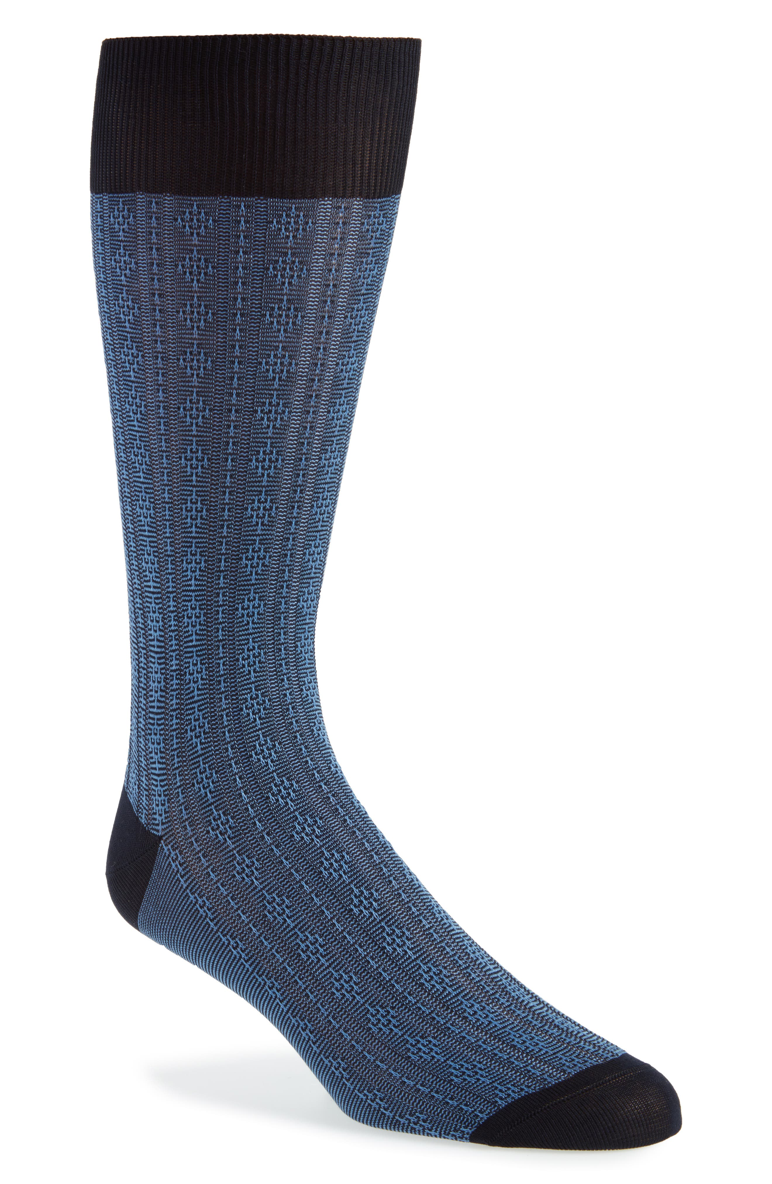 Atom Stitch Socks,                         Main,                         color, Navy