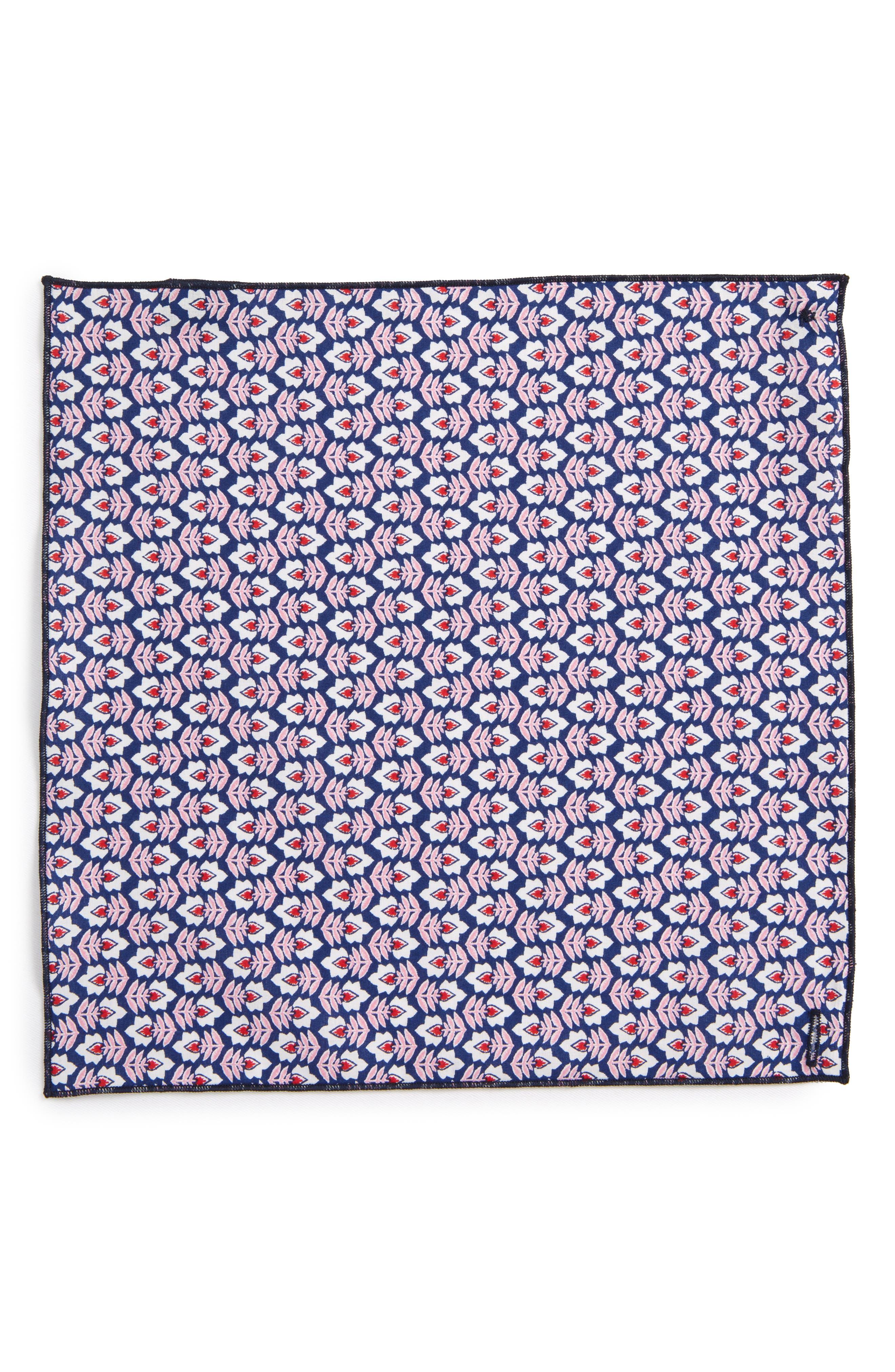 Pink Flowers Cotton Pocket Square,                             Alternate thumbnail 2, color,                             Pink