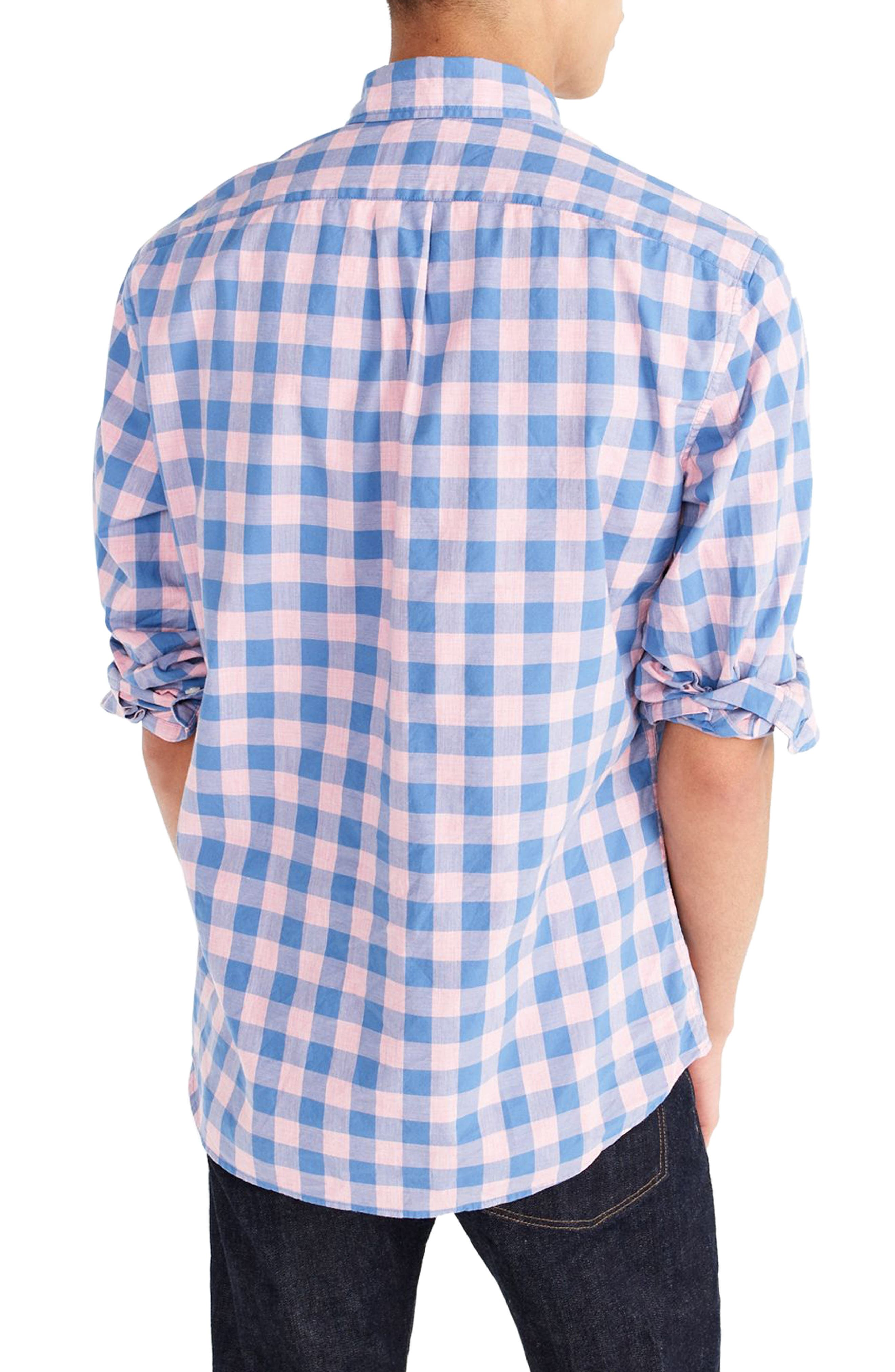 Slim Fit Stretch Secret Wash Gingham Sport Shirt,                             Alternate thumbnail 2, color,                             Heather Peony
